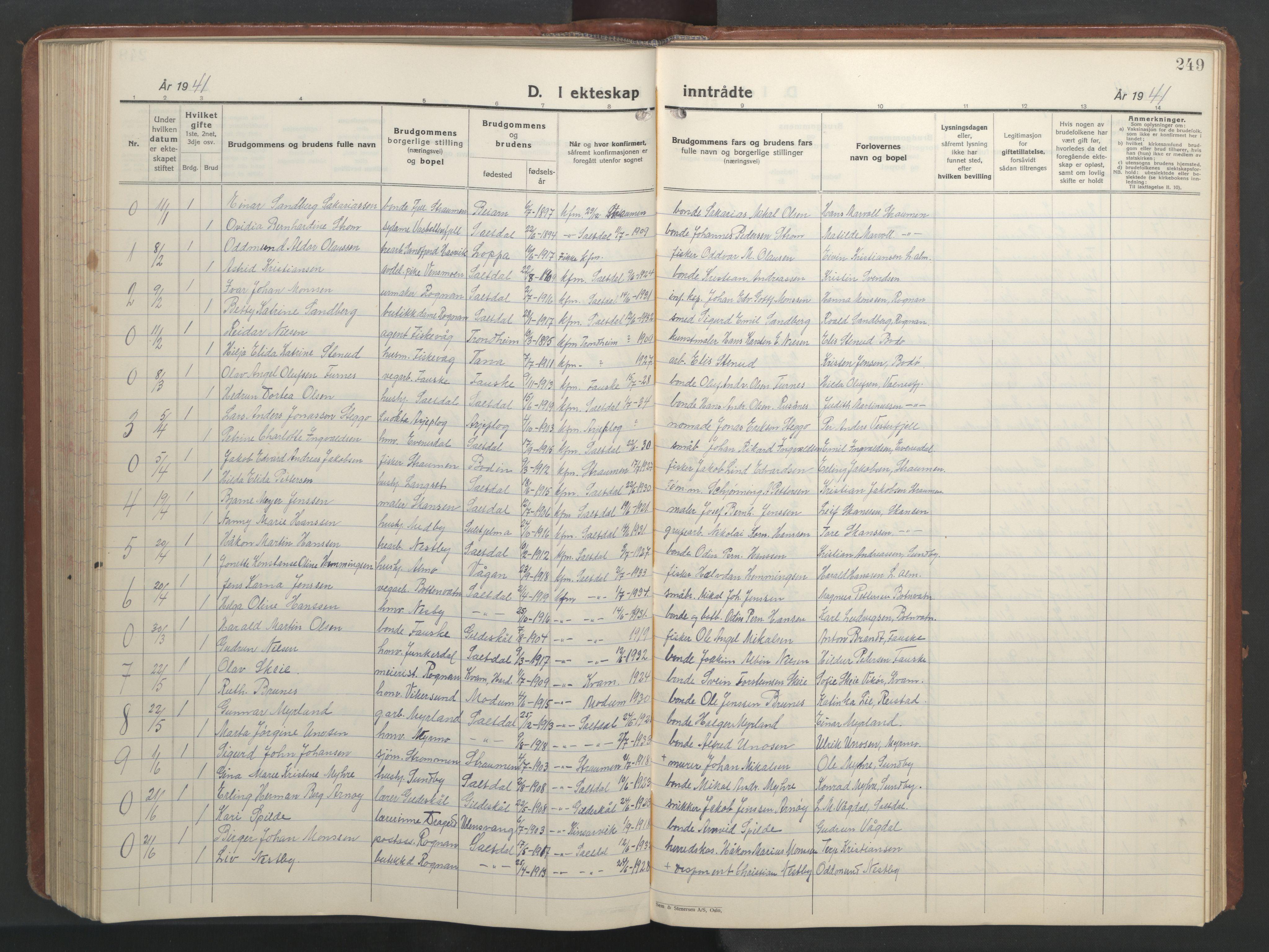 SAT, Ministerialprotokoller, klokkerbøker og fødselsregistre - Nordland, 847/L0680: Klokkerbok nr. 847C08, 1930-1947, s. 249