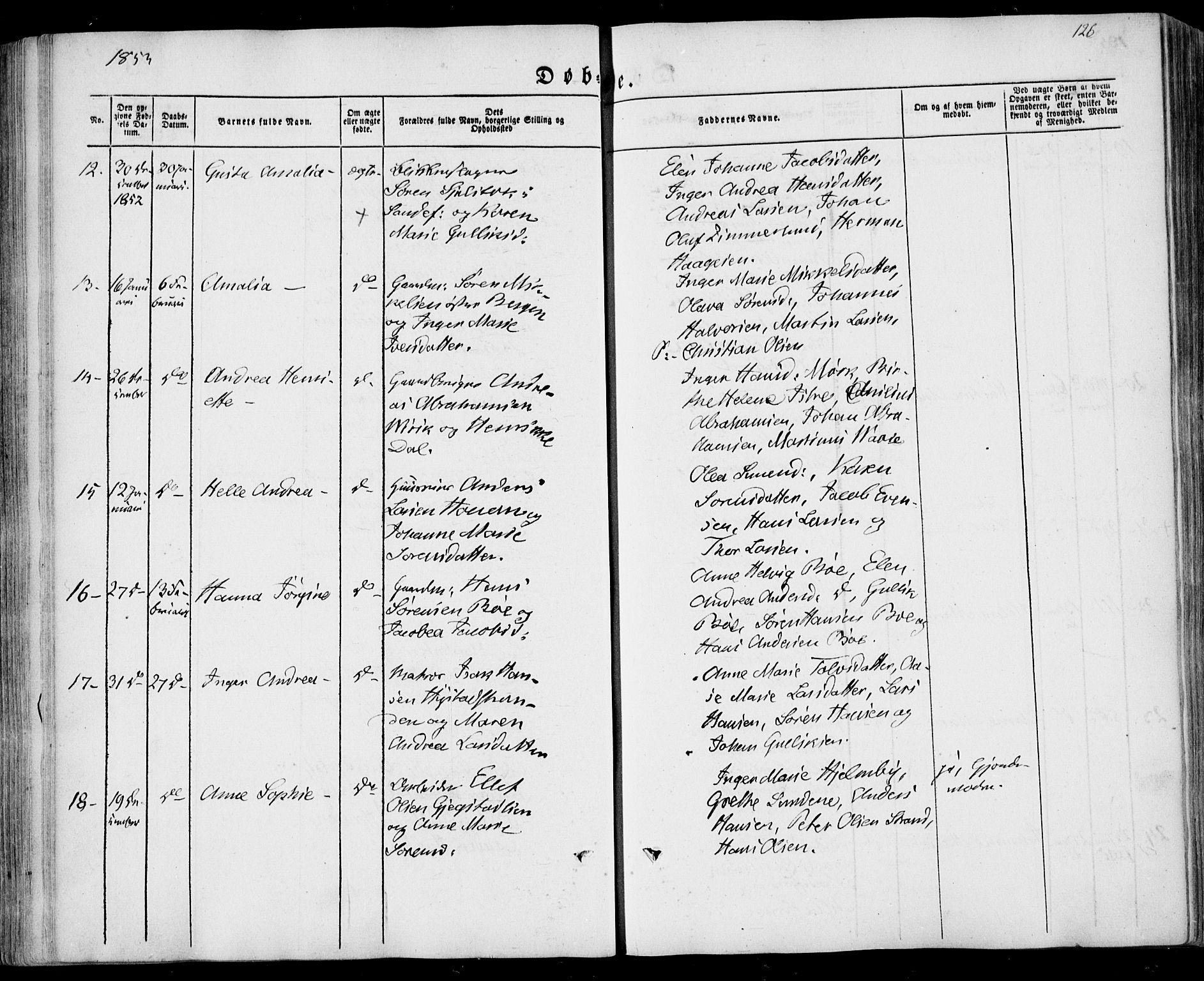 SAKO, Sandar kirkebøker, F/Fa/L0006: Ministerialbok nr. 6, 1847-1860, s. 126