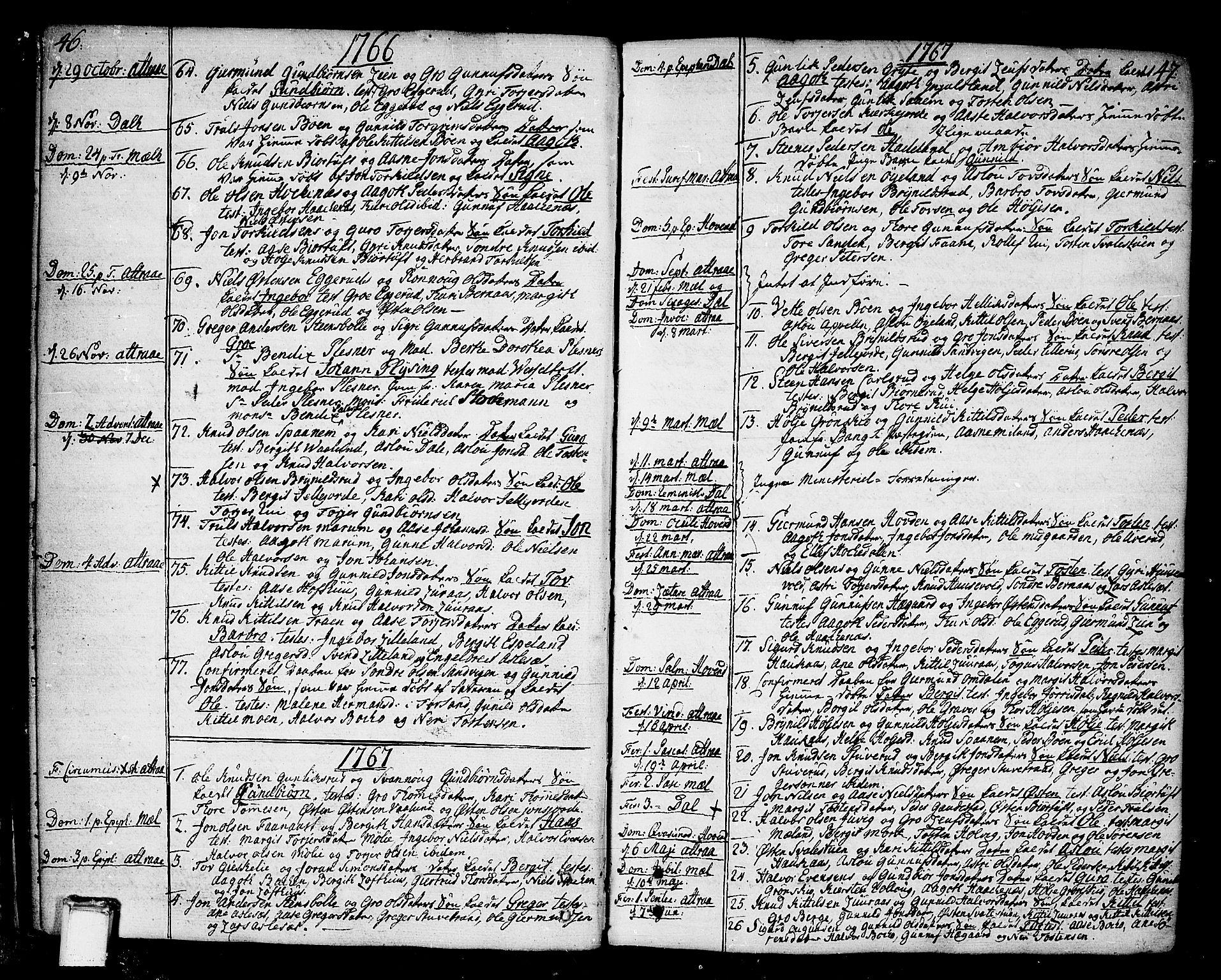 SAKO, Tinn kirkebøker, F/Fa/L0002: Ministerialbok nr. I 2, 1757-1810, s. 46-47