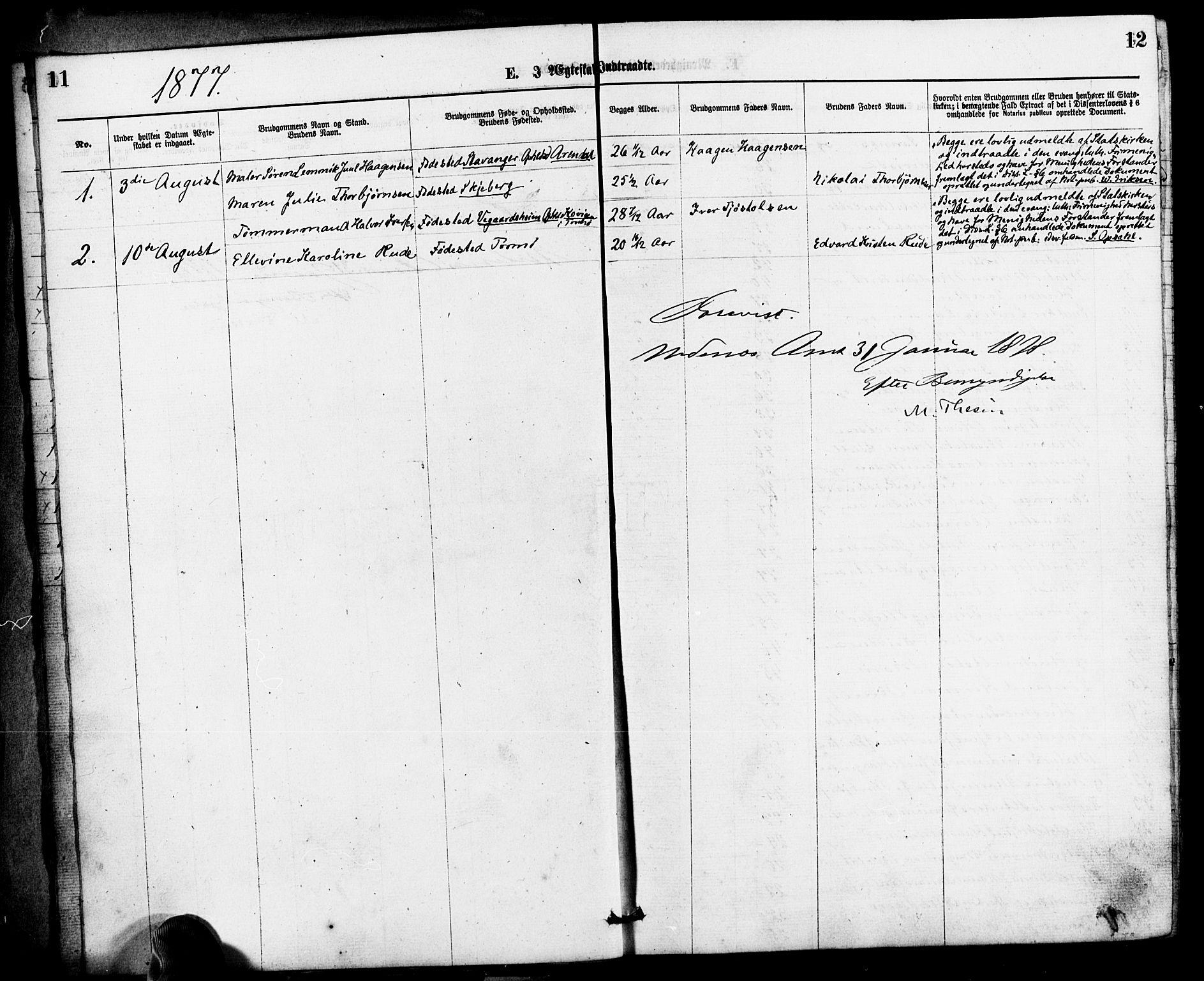 SAK, Den evangelisk-lutherske frimenighet, Arendal, F/Fa/L0001: Dissenterprotokoll nr. F 5, 1877-1883, s. 11-12