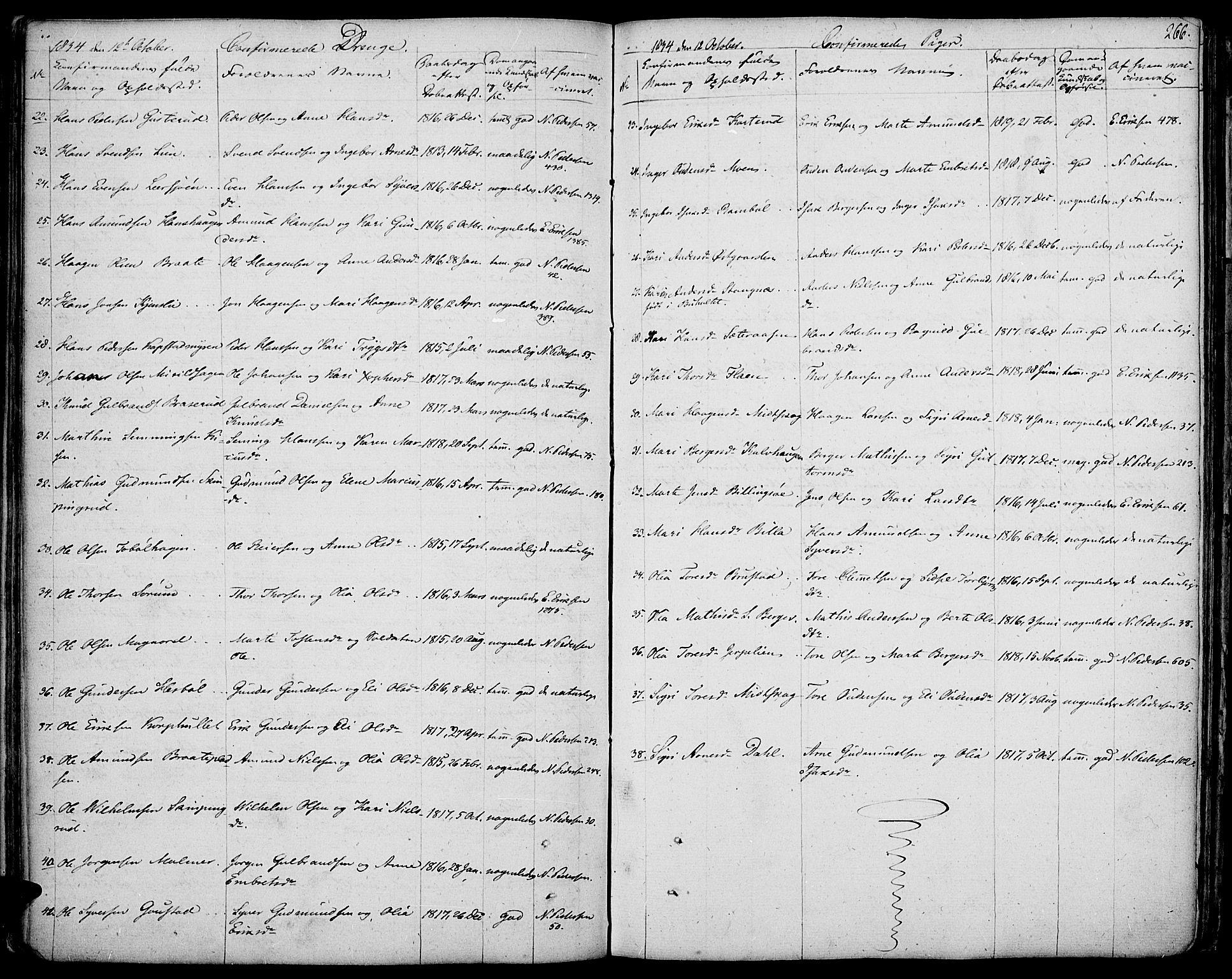 SAH, Vinger prestekontor, Ministerialbok nr. 7, 1826-1839, s. 266