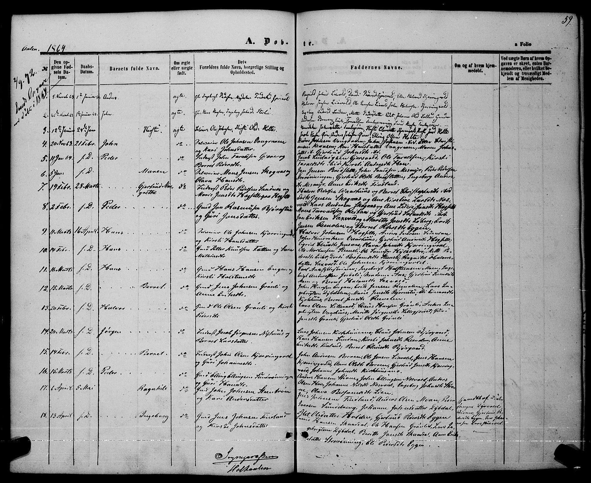 SAT, Ministerialprotokoller, klokkerbøker og fødselsregistre - Sør-Trøndelag, 685/L0968: Ministerialbok nr. 685A07 /3, 1860-1869, s. 59