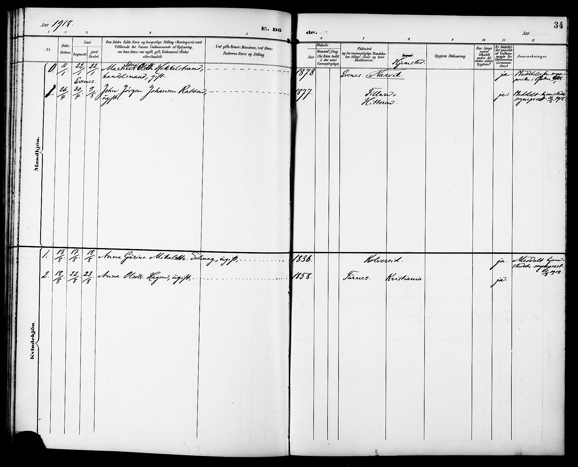 SAT, Ministerialprotokoller, klokkerbøker og fødselsregistre - Sør-Trøndelag, 629/L0486: Ministerialbok nr. 629A02, 1894-1919, s. 34