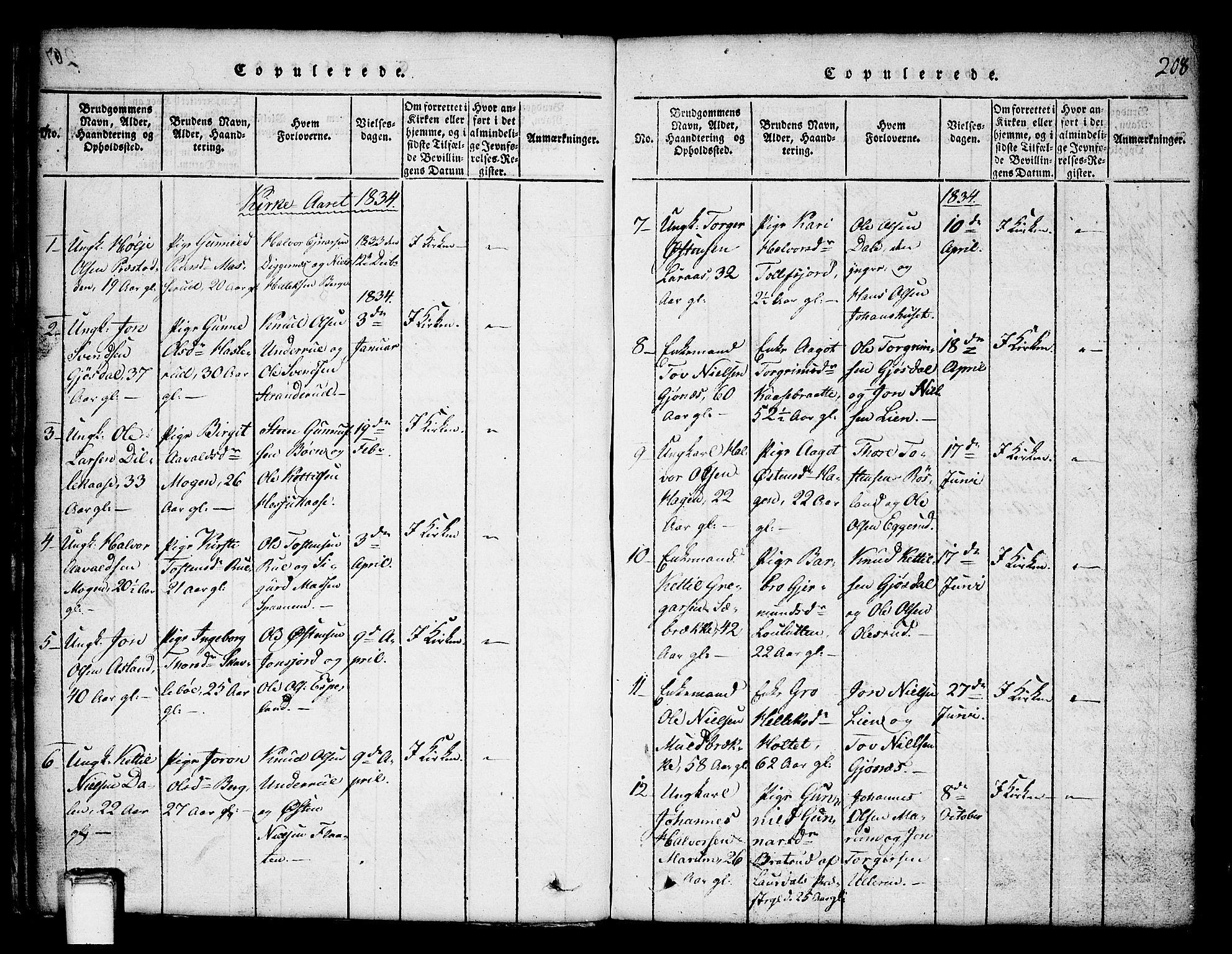 SAKO, Tinn kirkebøker, G/Ga/L0001: Klokkerbok nr. I 1, 1815-1850, s. 208