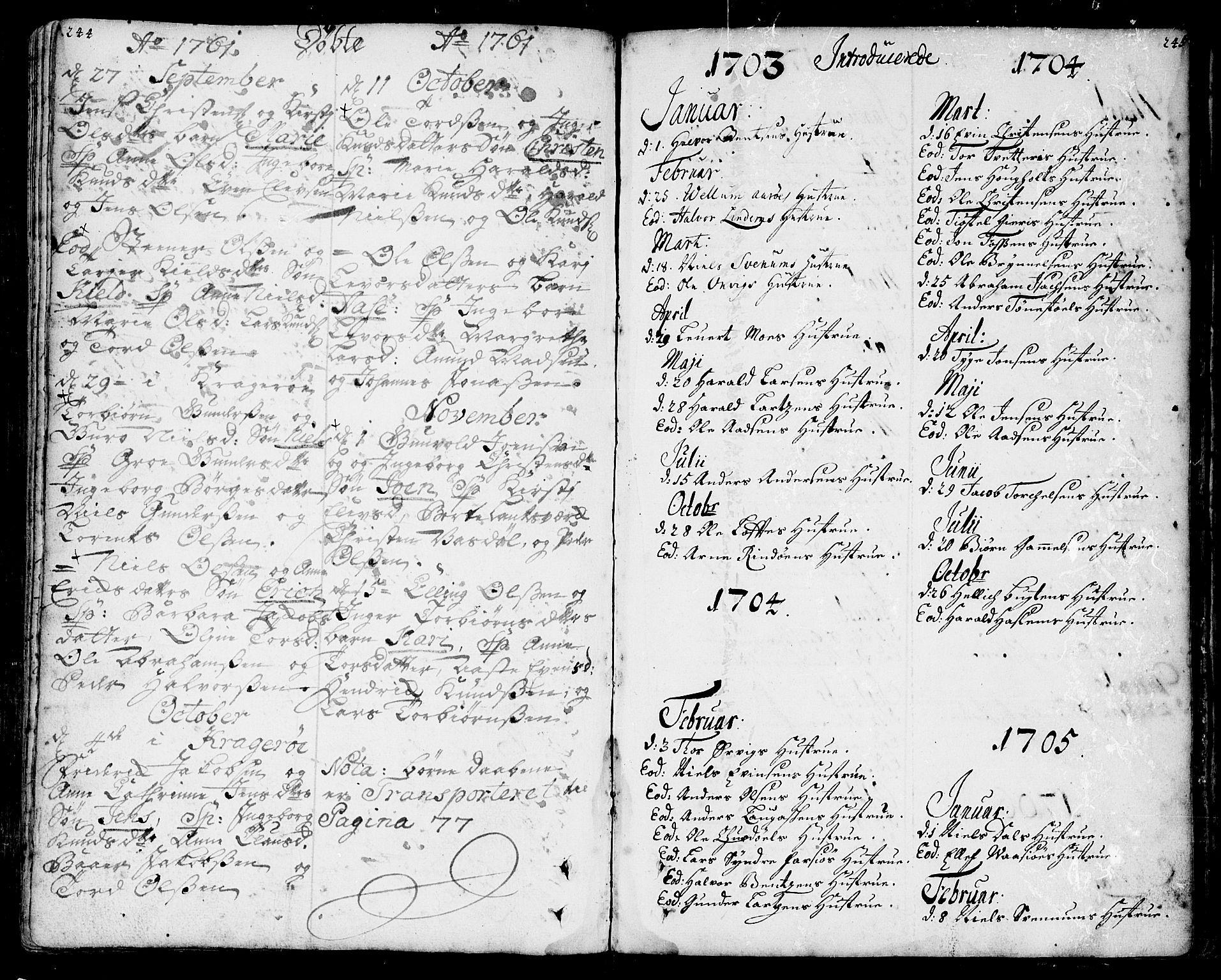 SAKO, Sannidal kirkebøker, F/Fa/L0001: Ministerialbok nr. 1, 1702-1766, s. 244-245
