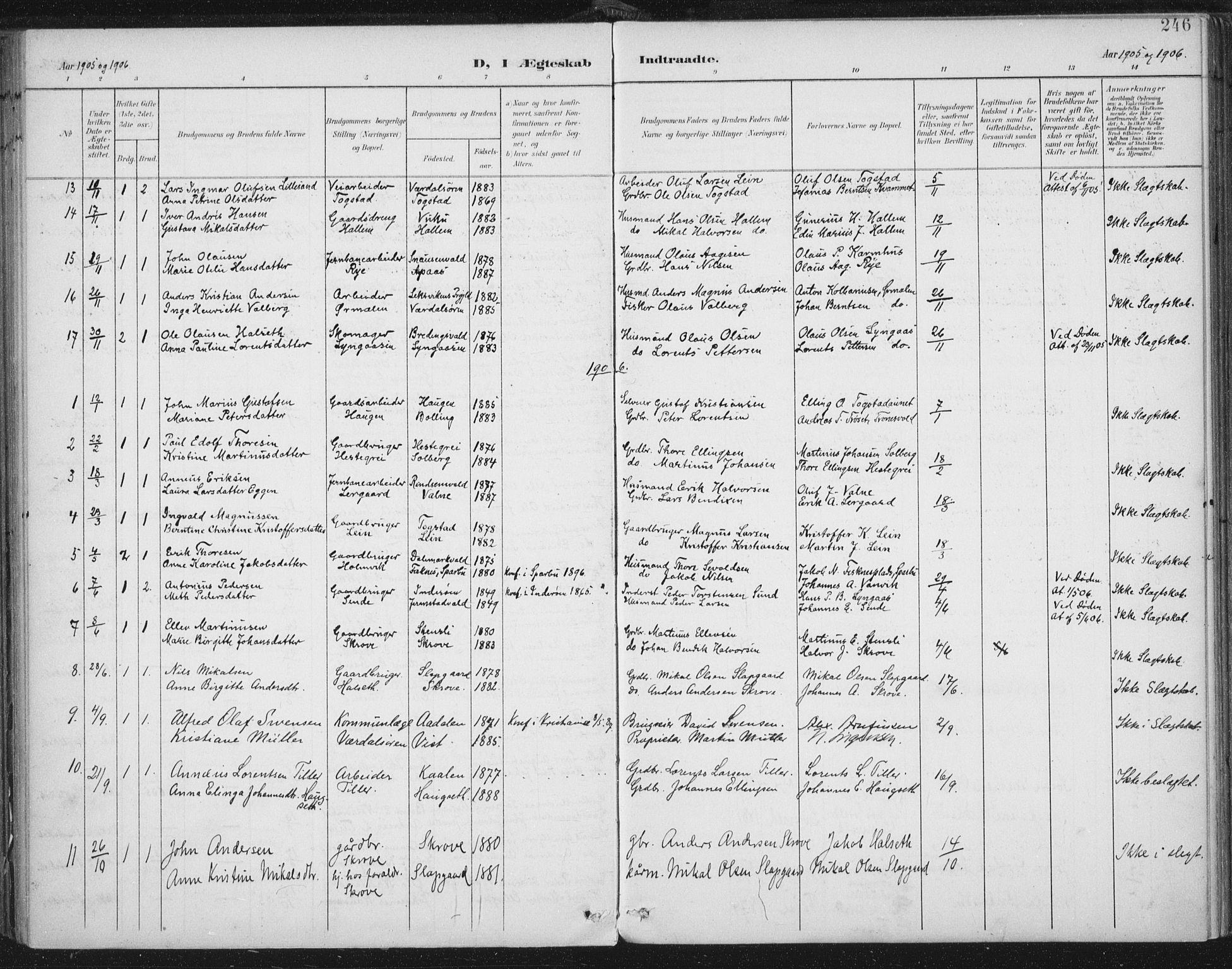 SAT, Ministerialprotokoller, klokkerbøker og fødselsregistre - Nord-Trøndelag, 723/L0246: Ministerialbok nr. 723A15, 1900-1917, s. 246