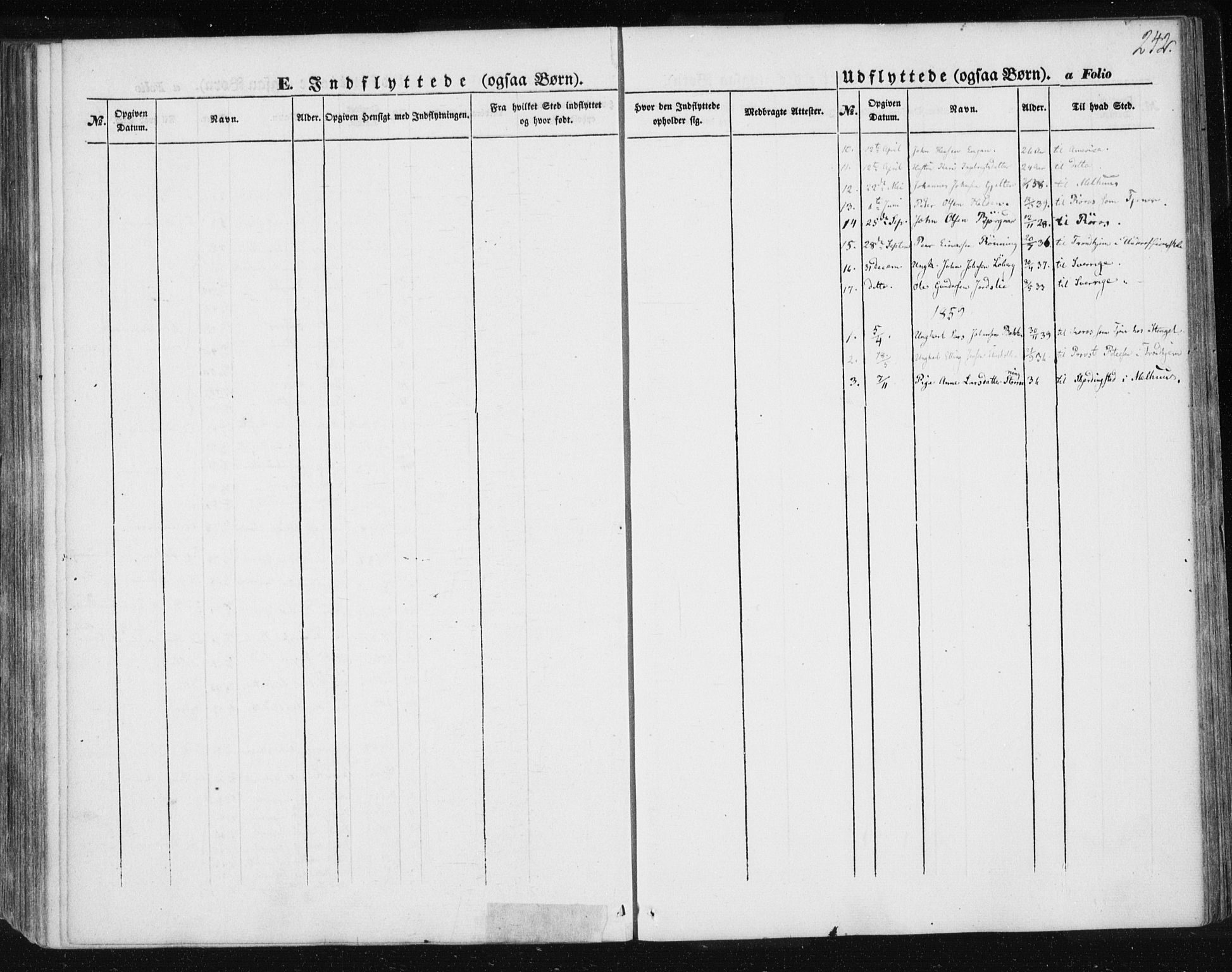SAT, Ministerialprotokoller, klokkerbøker og fødselsregistre - Sør-Trøndelag, 685/L0965: Ministerialbok nr. 685A06 /3, 1846-1859, s. 242