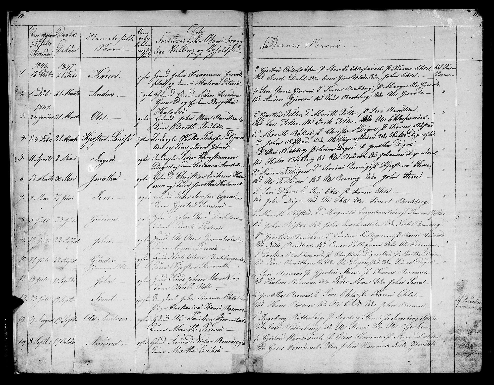 SAT, Ministerialprotokoller, klokkerbøker og fødselsregistre - Sør-Trøndelag, 608/L0339: Klokkerbok nr. 608C05, 1844-1863, s. 10-11