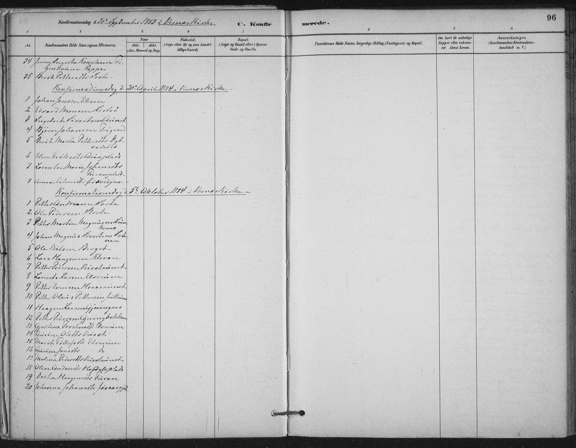 SAT, Ministerialprotokoller, klokkerbøker og fødselsregistre - Nord-Trøndelag, 710/L0095: Ministerialbok nr. 710A01, 1880-1914, s. 96