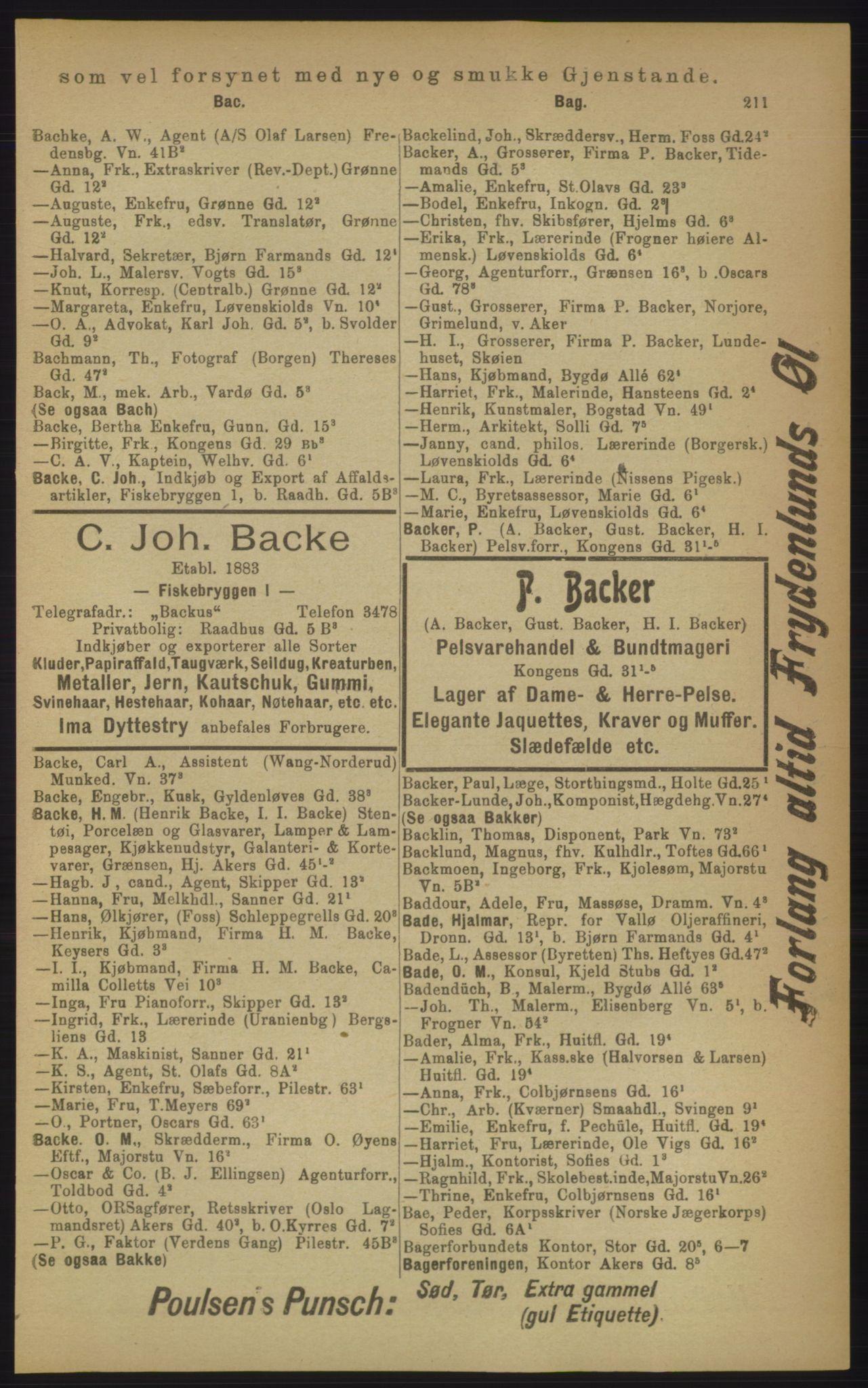 PUBL, Kristiania/Oslo adressebok, 1906, s. 211