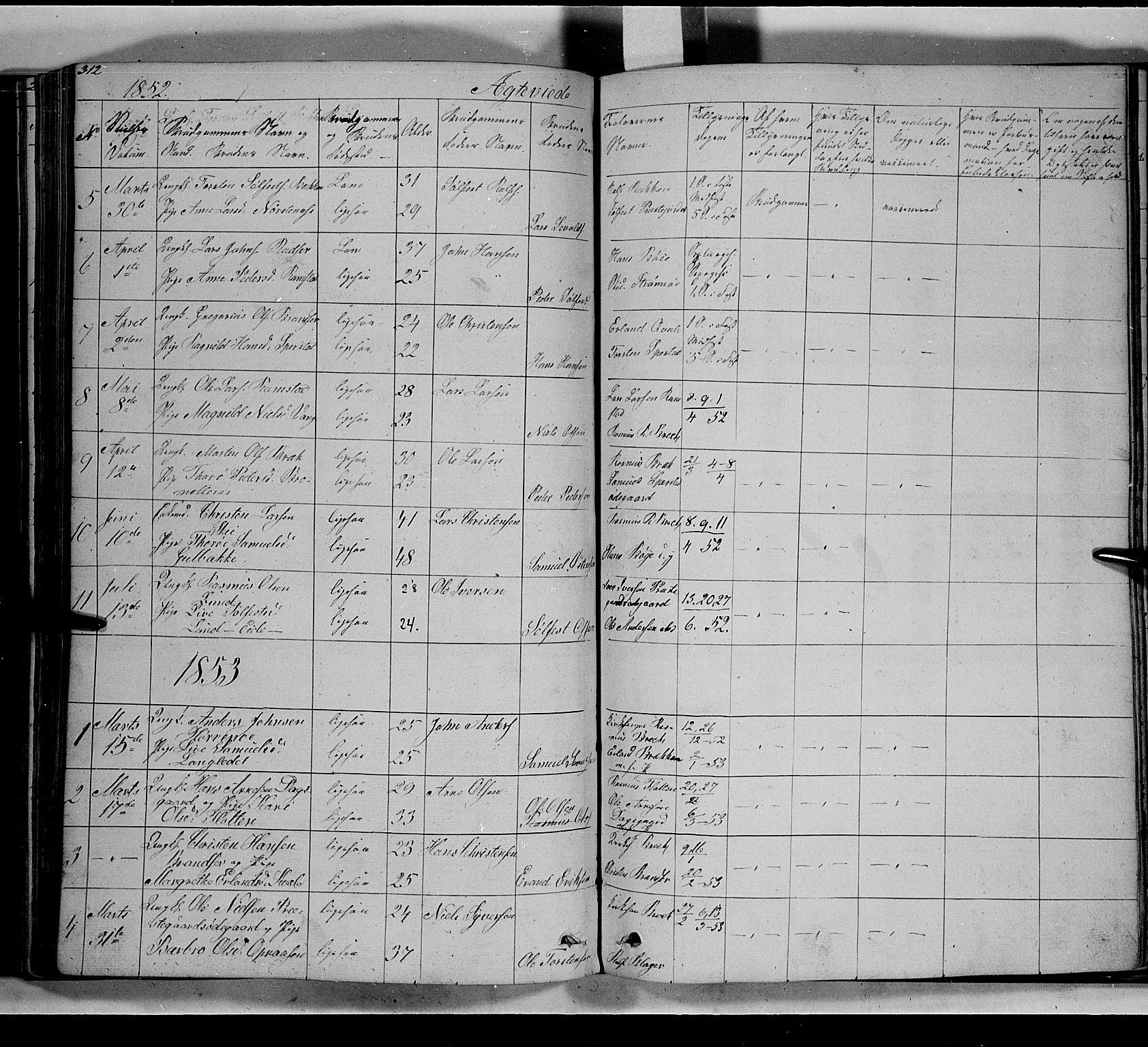 SAH, Lom prestekontor, L/L0004: Klokkerbok nr. 4, 1845-1864, s. 312-313