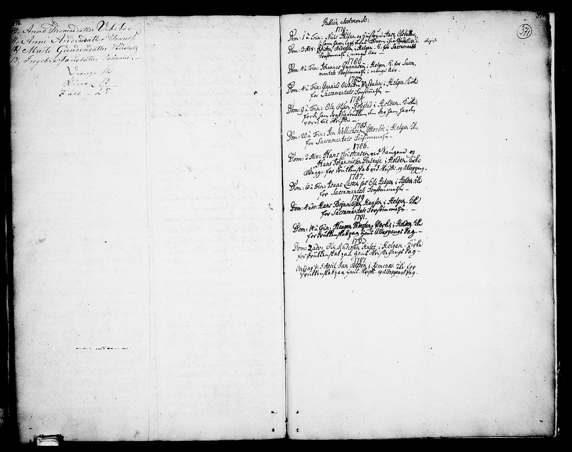 SAKO, Holla kirkebøker, F/Fa/L0002: Ministerialbok nr. 2, 1779-1814, s. 370-371
