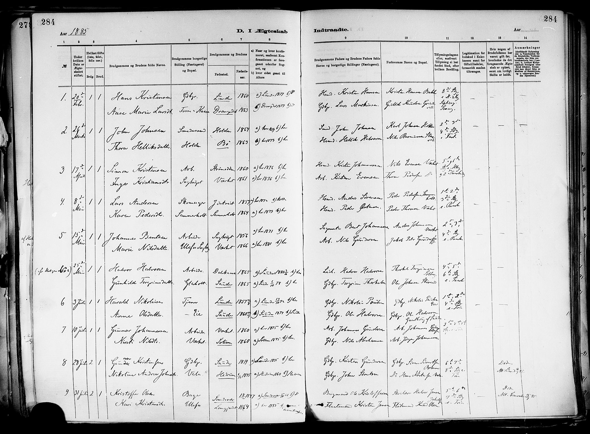 SAKO, Holla kirkebøker, F/Fa/L0008: Ministerialbok nr. 8, 1882-1897, s. 284