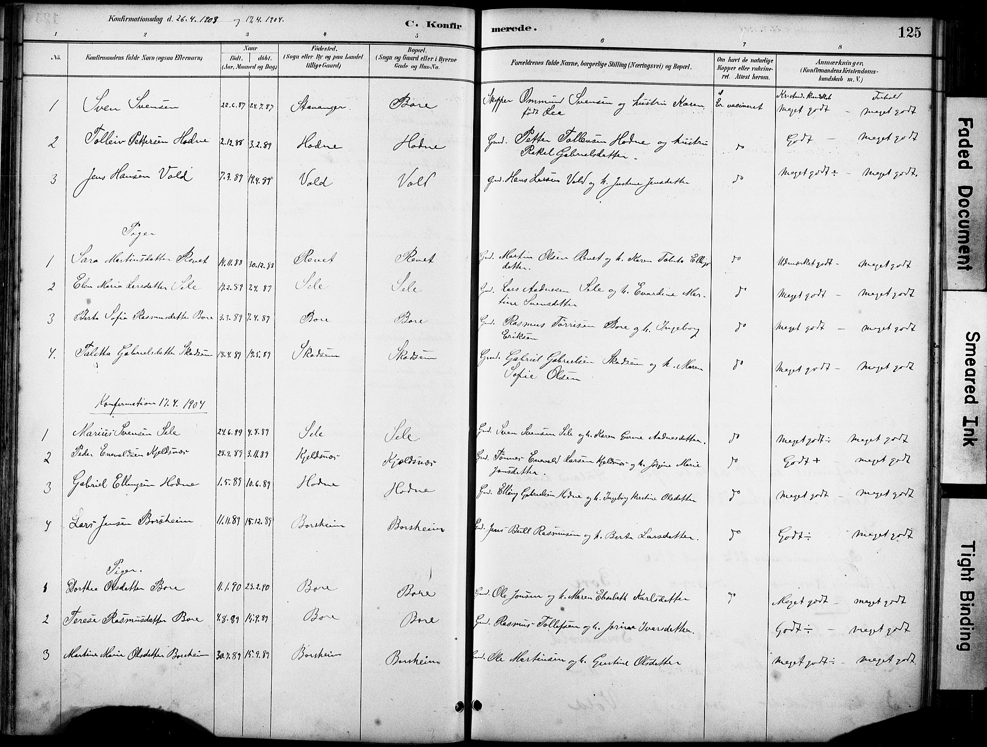 SAST, Klepp sokneprestkontor, 30BA/L0008: Ministerialbok nr. A 9, 1886-1919, s. 125