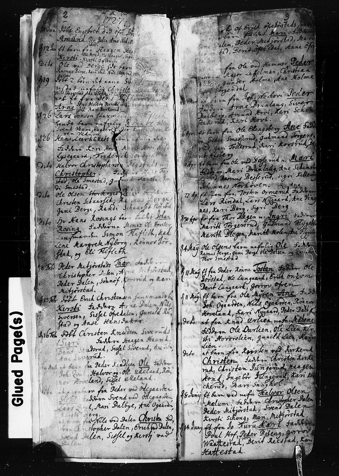 SAH, Fåberg prestekontor, Klokkerbok nr. 1, 1727-1767, s. 2-3