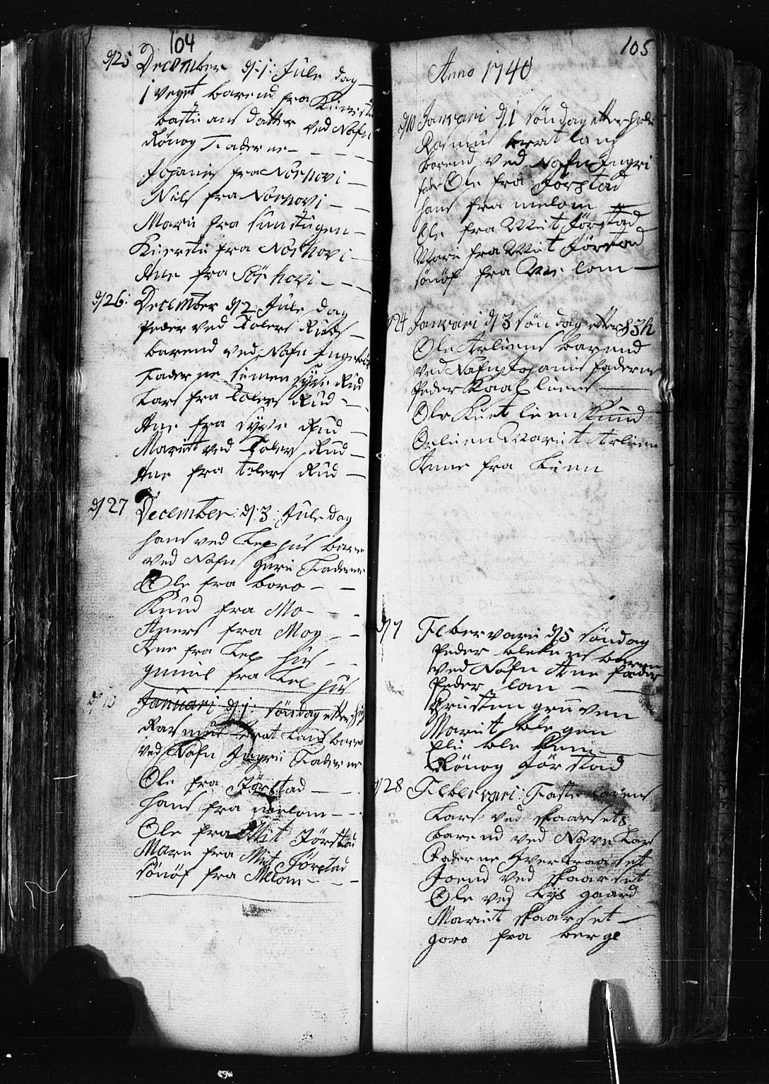SAH, Fåberg prestekontor, Klokkerbok nr. 1, 1727-1767, s. 104-105