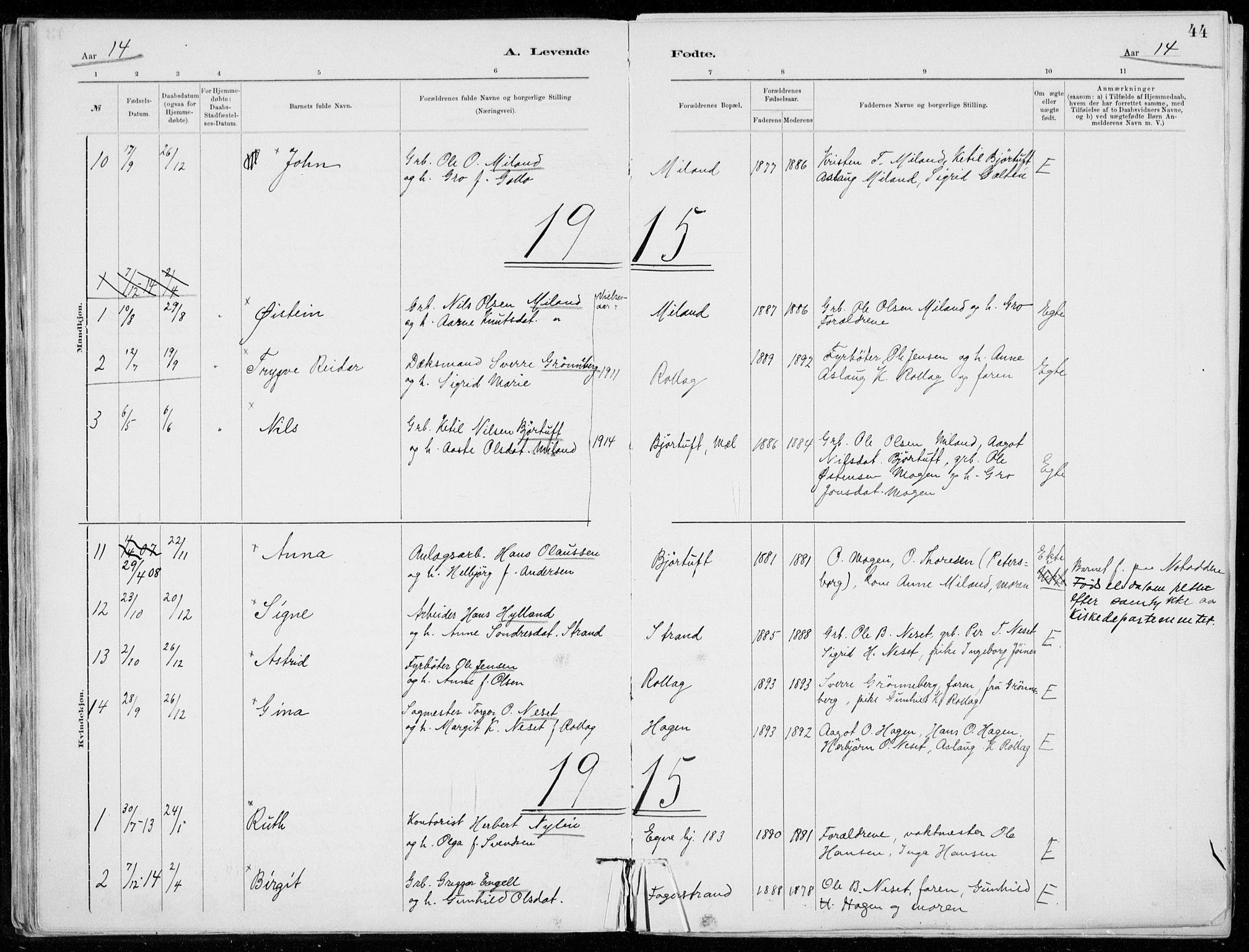 SAKO, Tinn kirkebøker, F/Fb/L0002: Ministerialbok nr. II 2, 1878-1917, s. 44