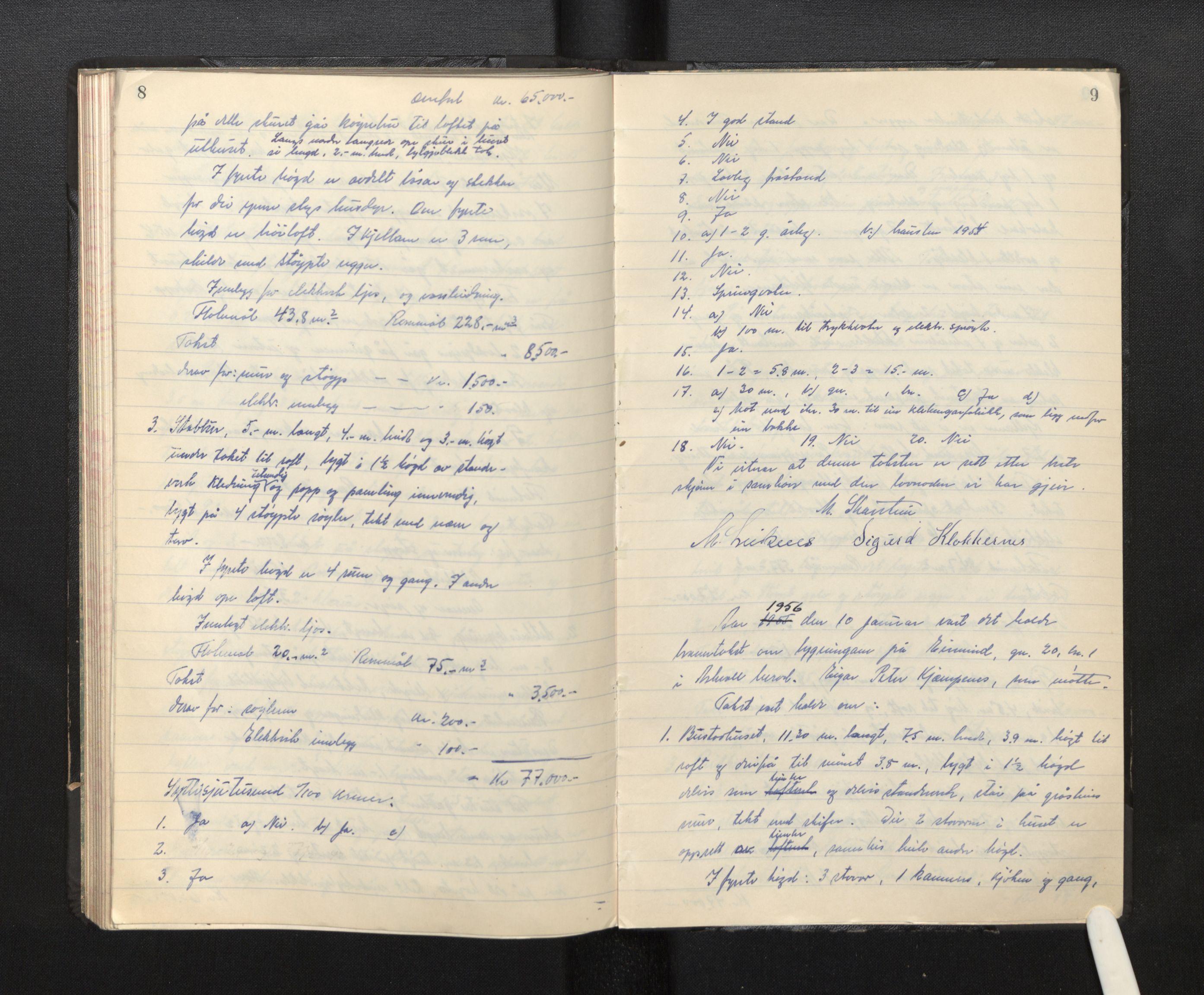 SAB, Lensmannen i Askvoll, 0012/L0003: Branntakstprotokoll, 1952-1956, s. 8-9