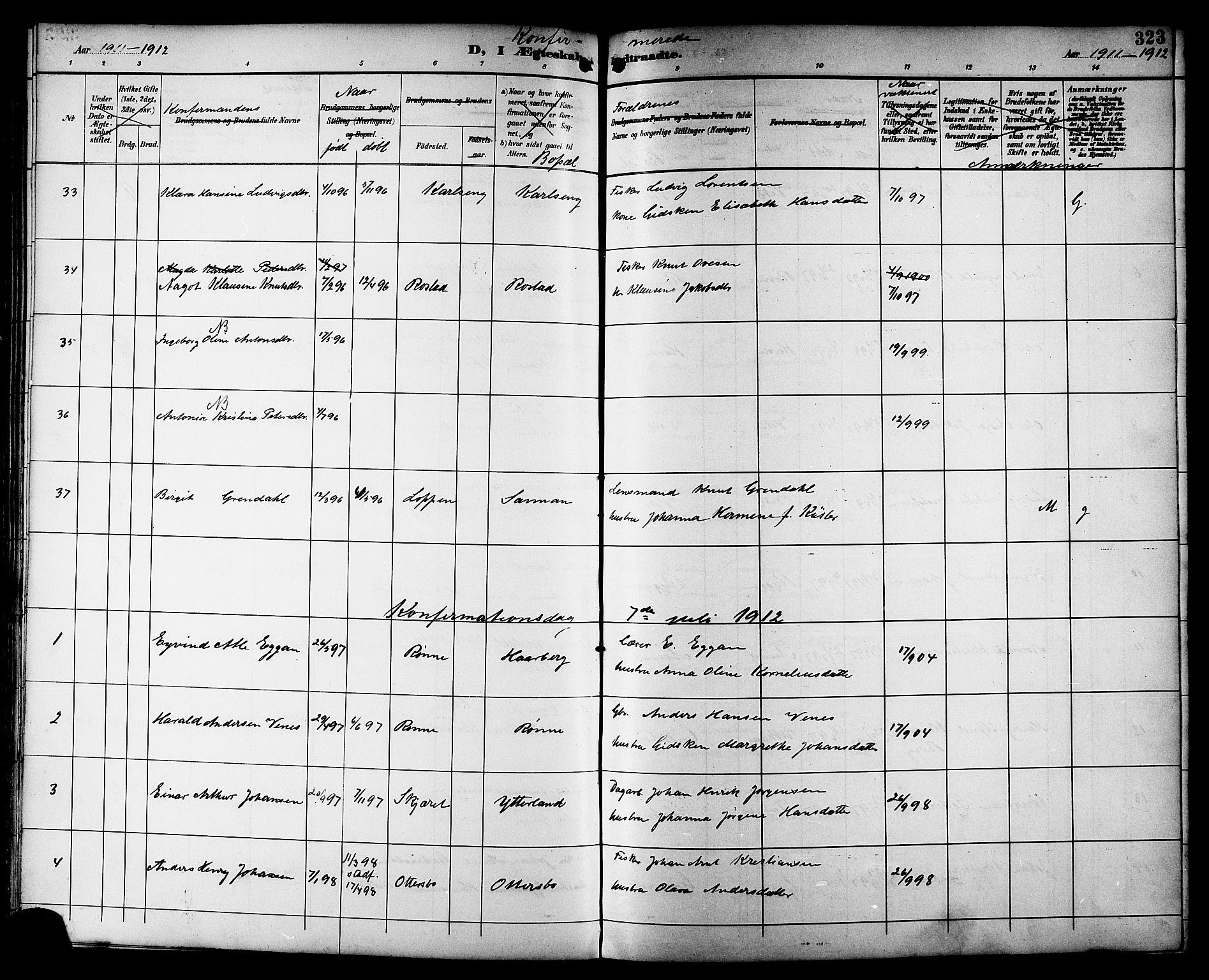 SAT, Ministerialprotokoller, klokkerbøker og fødselsregistre - Sør-Trøndelag, 659/L0746: Klokkerbok nr. 659C03, 1893-1912, s. 323