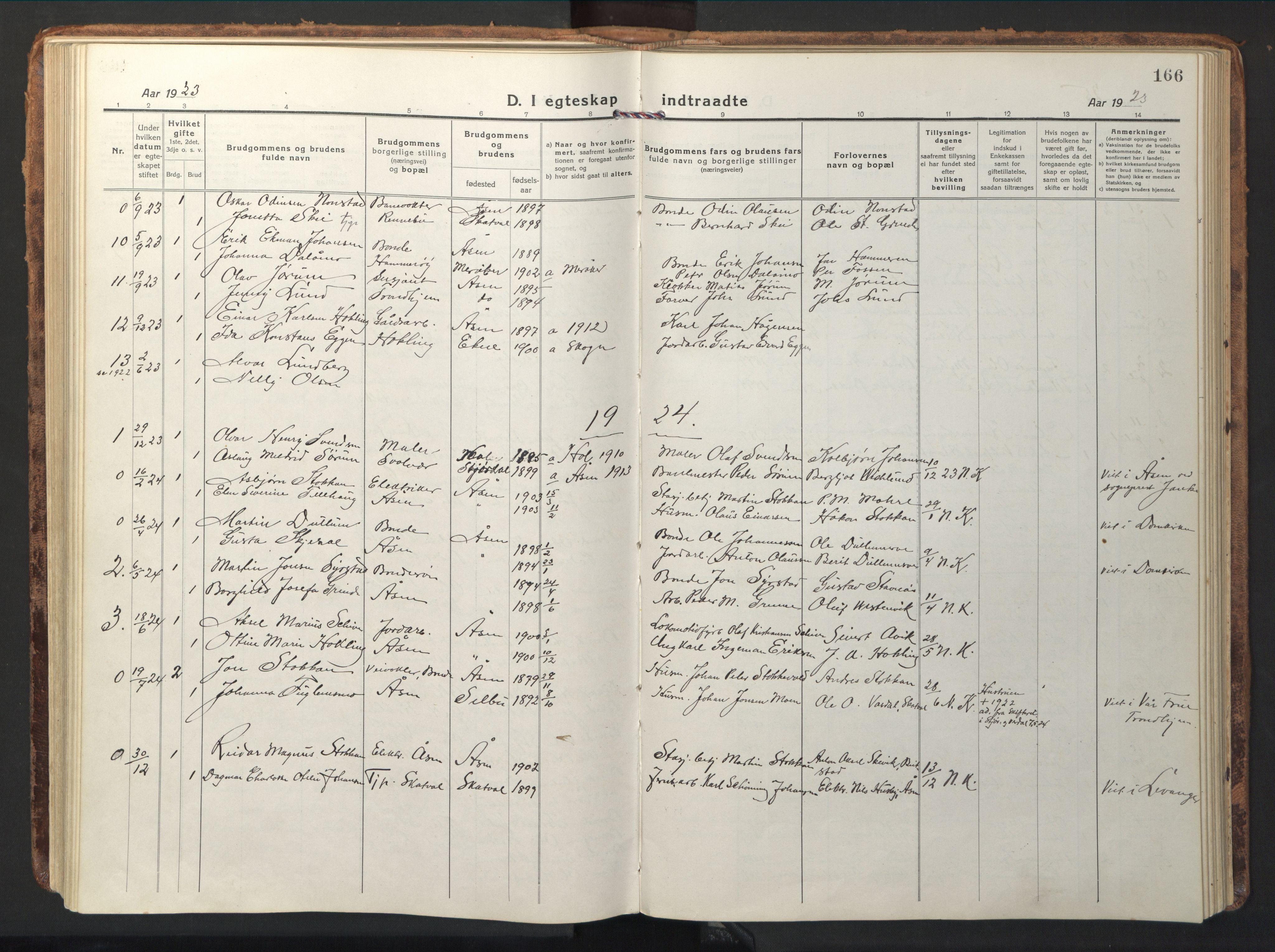 SAT, Ministerialprotokoller, klokkerbøker og fødselsregistre - Nord-Trøndelag, 714/L0136: Klokkerbok nr. 714C05, 1918-1957, s. 166