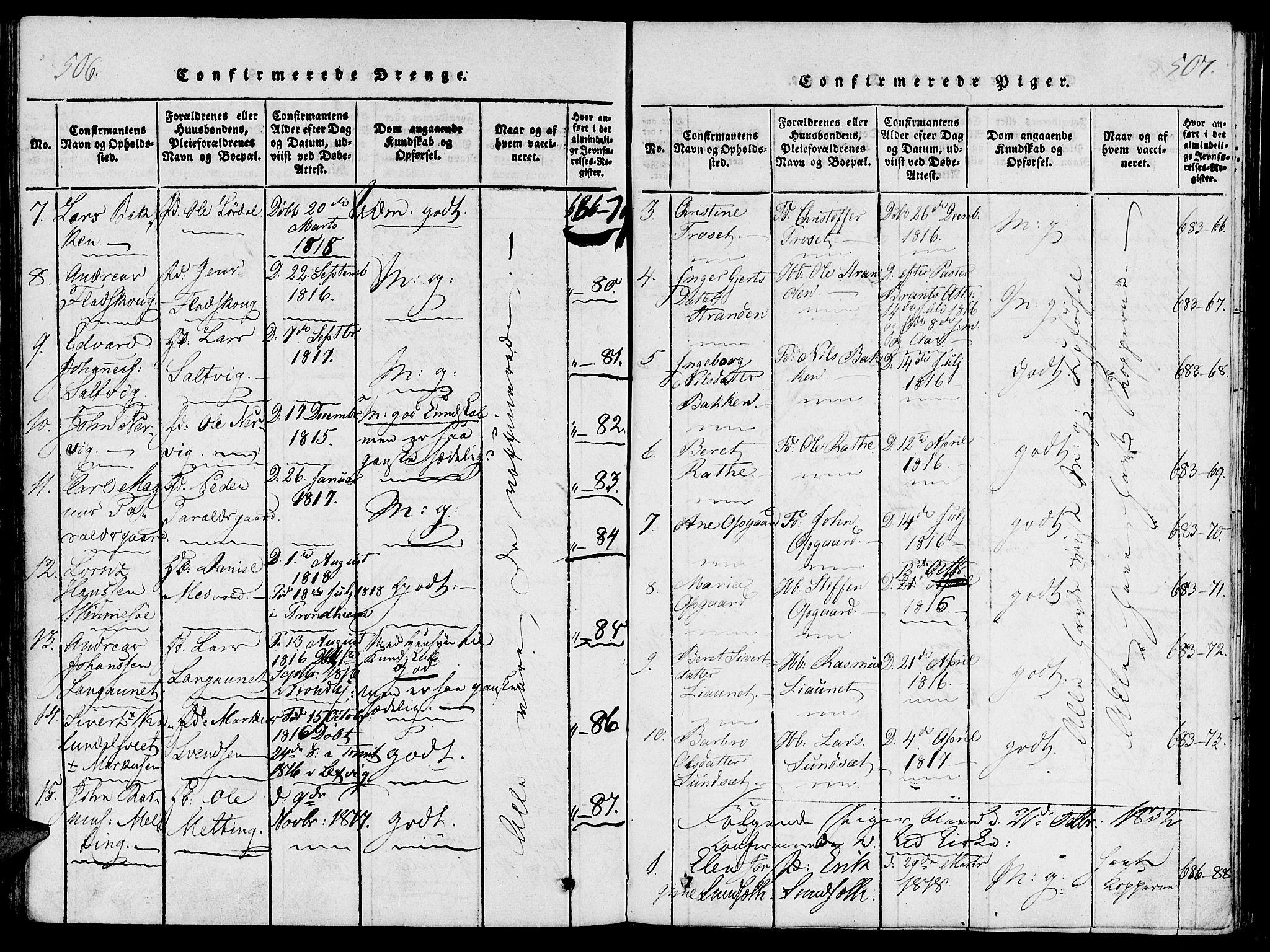 SAT, Ministerialprotokoller, klokkerbøker og fødselsregistre - Nord-Trøndelag, 733/L0322: Ministerialbok nr. 733A01, 1817-1842, s. 506-507
