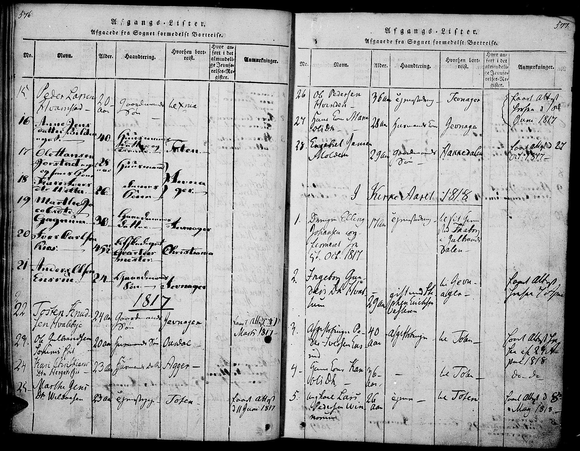 SAH, Gran prestekontor, Ministerialbok nr. 9, 1815-1824, s. 576-577