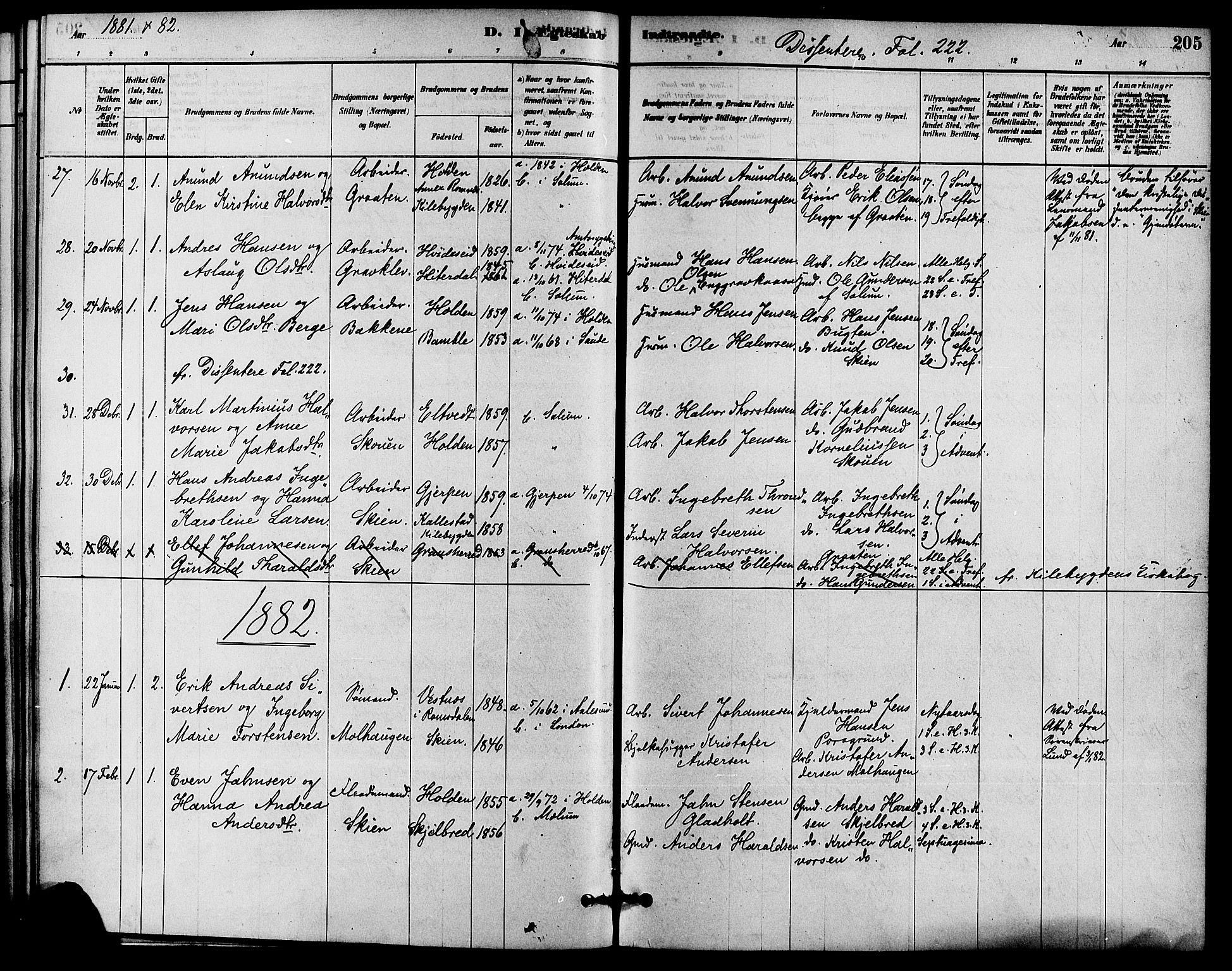 SAKO, Solum kirkebøker, F/Fa/L0009: Ministerialbok nr. I 9, 1877-1887, s. 205