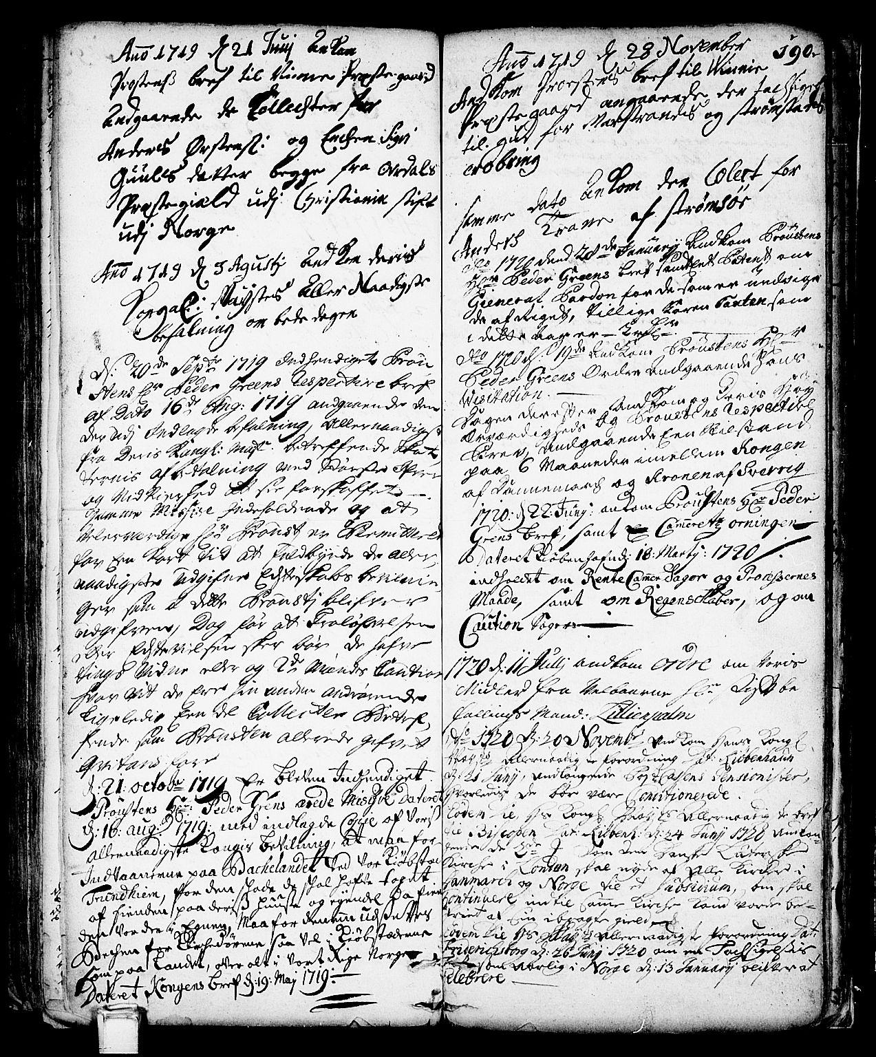 SAKO, Vinje kirkebøker, F/Fa/L0001: Ministerialbok nr. I 1, 1717-1766, s. 190