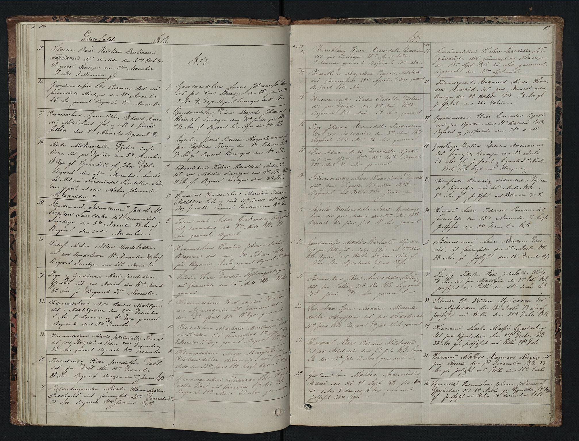 SAH, Vestre Toten prestekontor, Klokkerbok nr. 7, 1872-1900, s. 118-119