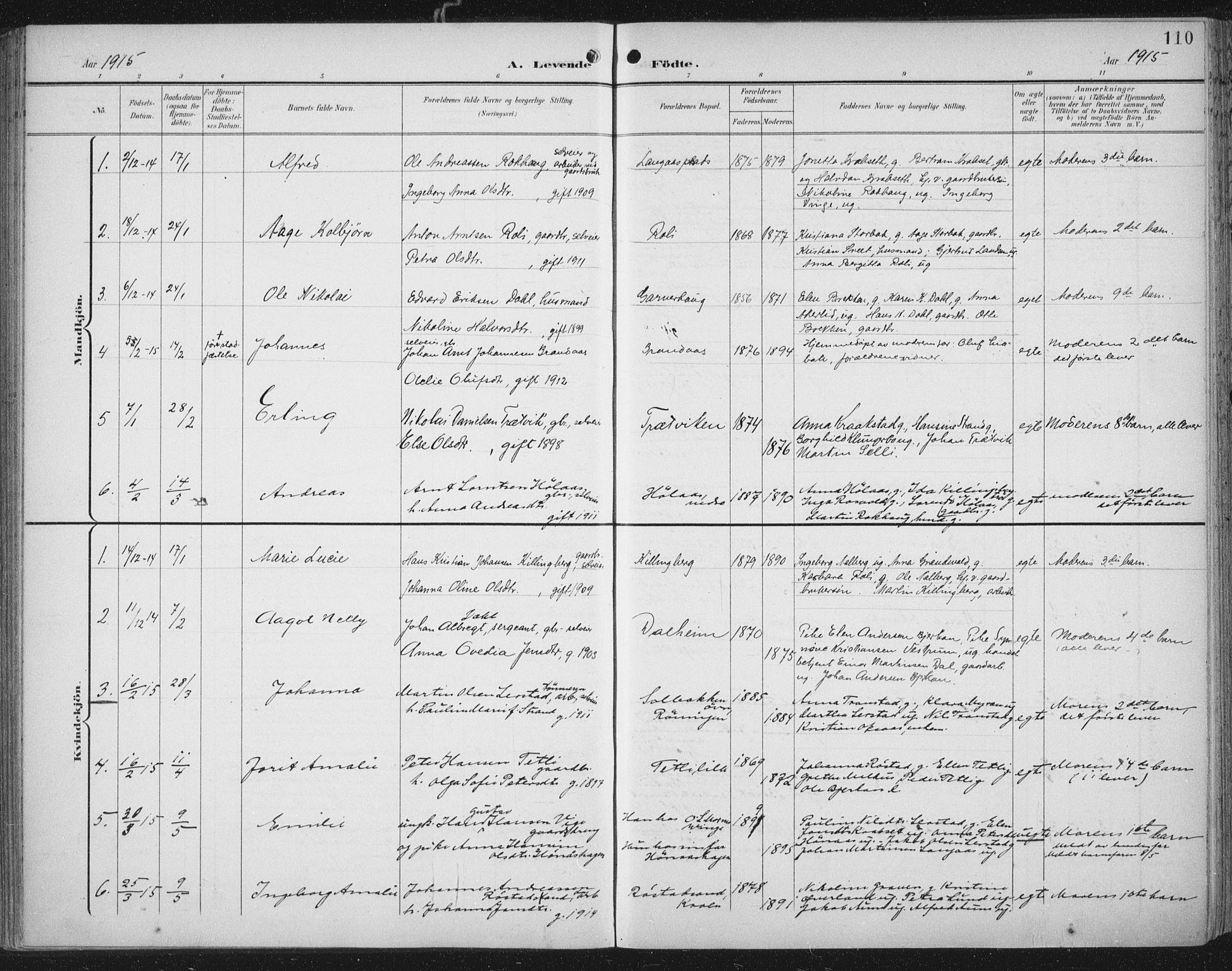 SAT, Ministerialprotokoller, klokkerbøker og fødselsregistre - Nord-Trøndelag, 701/L0011: Ministerialbok nr. 701A11, 1899-1915, s. 110