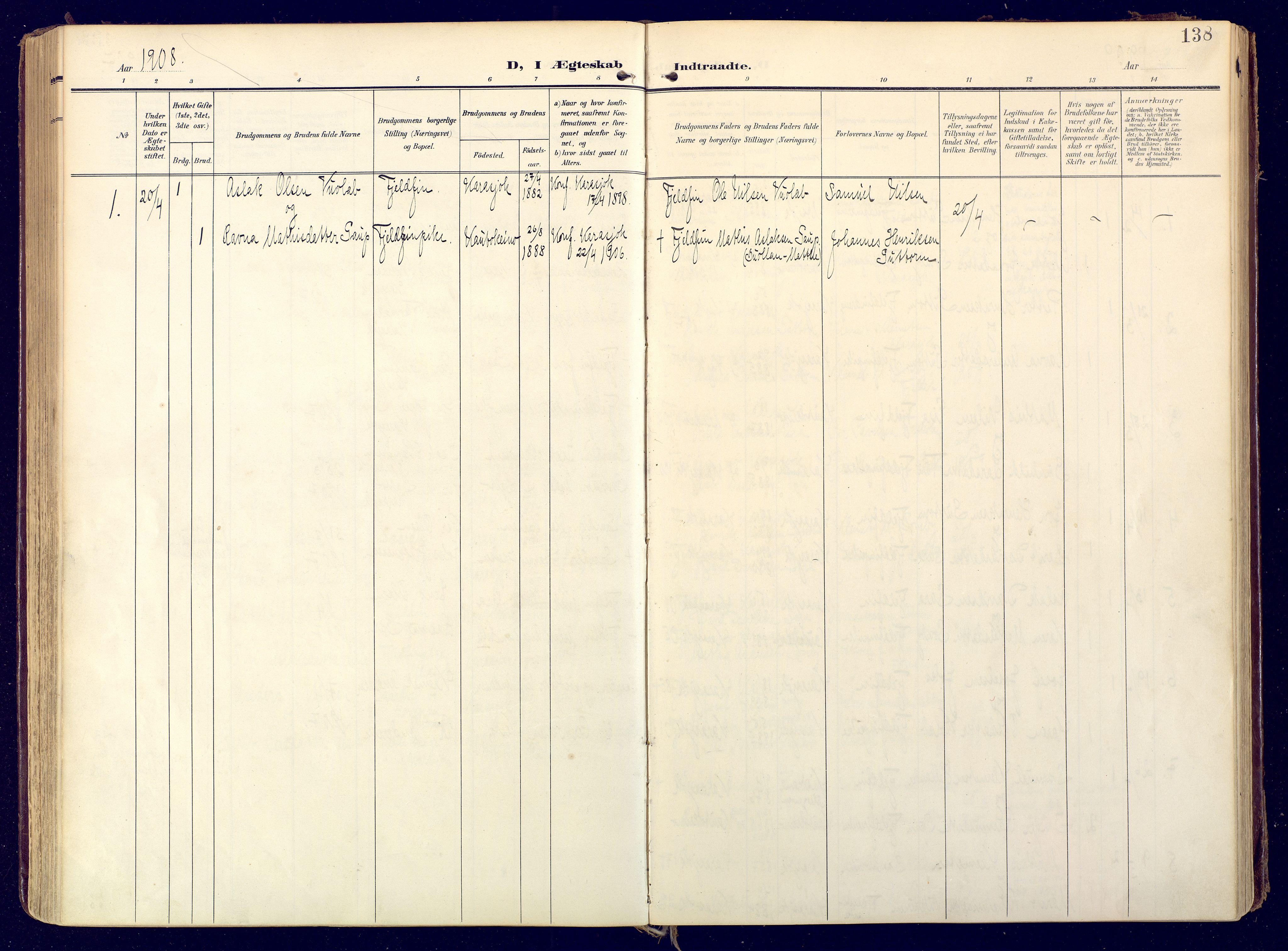 SATØ, Karasjok sokneprestkontor, H/Ha: Ministerialbok nr. 3, 1907-1926, s. 138