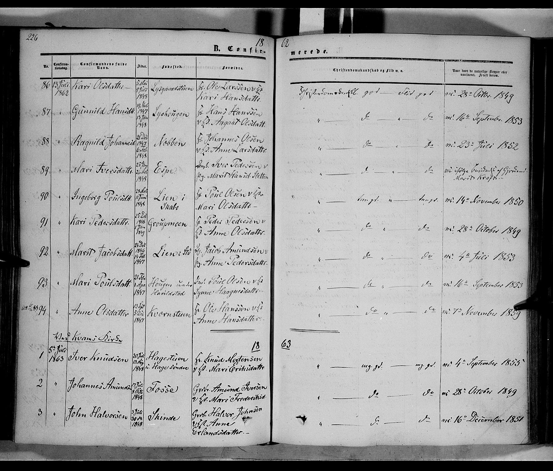 SAH, Nord-Fron prestekontor, Ministerialbok nr. 1, 1851-1864, s. 226