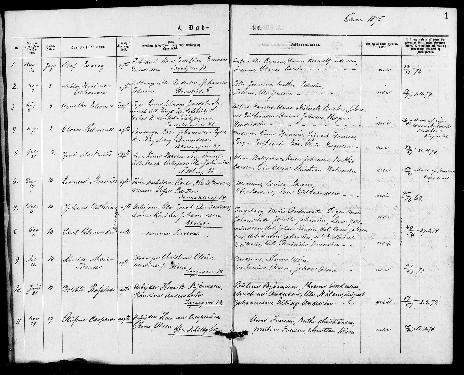 SAO, Gamle Aker prestekontor Kirkebøker, G/L0004: Klokkerbok nr. 4, 1875-1879, s. 1