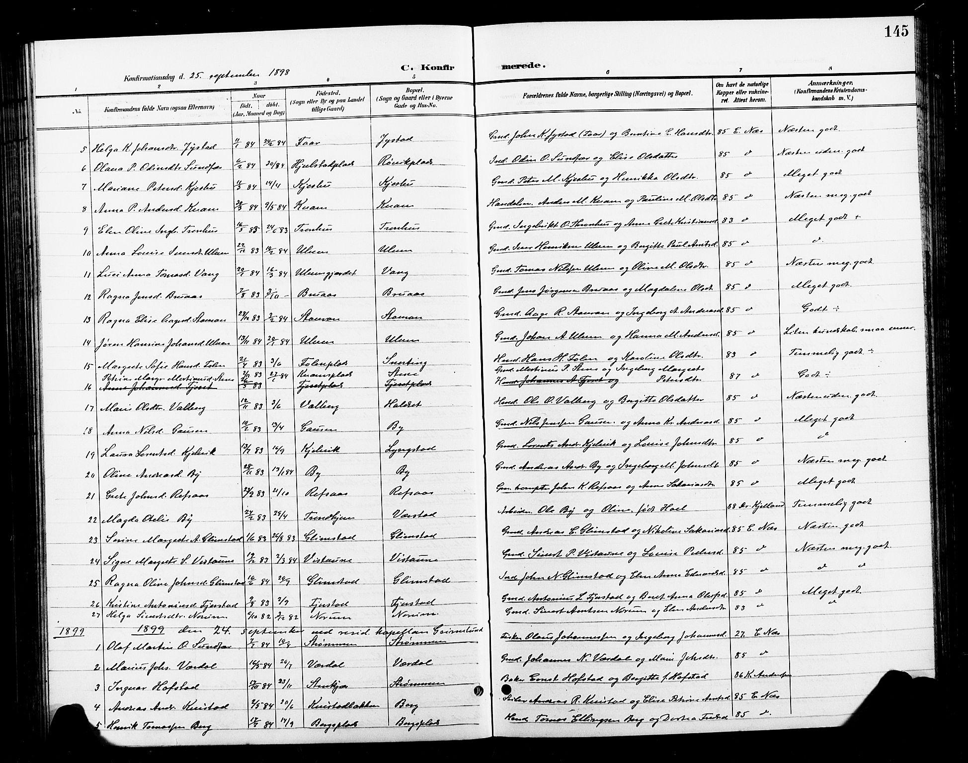 SAT, Ministerialprotokoller, klokkerbøker og fødselsregistre - Nord-Trøndelag, 730/L0302: Klokkerbok nr. 730C05, 1898-1924, s. 145