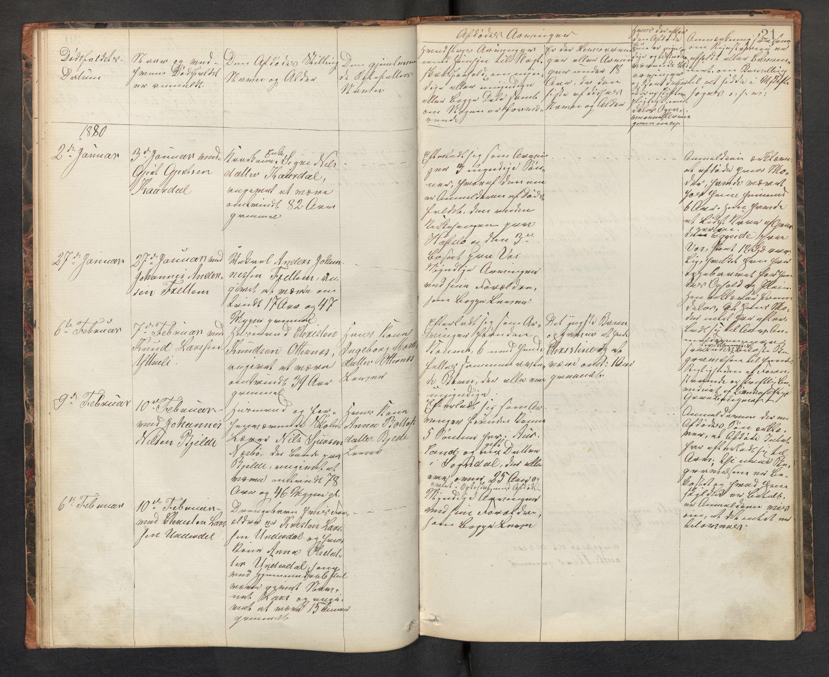 SAB, Lensmannen i Aurland, 0006/L0002: Dødsfallprotokoll, 1877-1892, s. 20b-21a