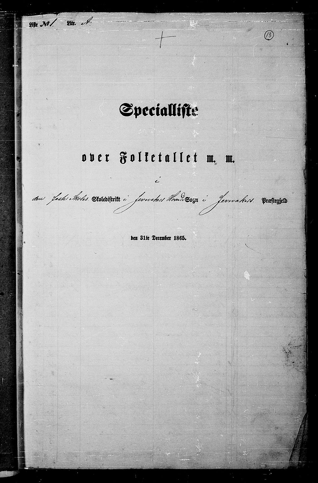 RA, Folketelling 1865 for 0532P Jevnaker prestegjeld, 1865, s. 11