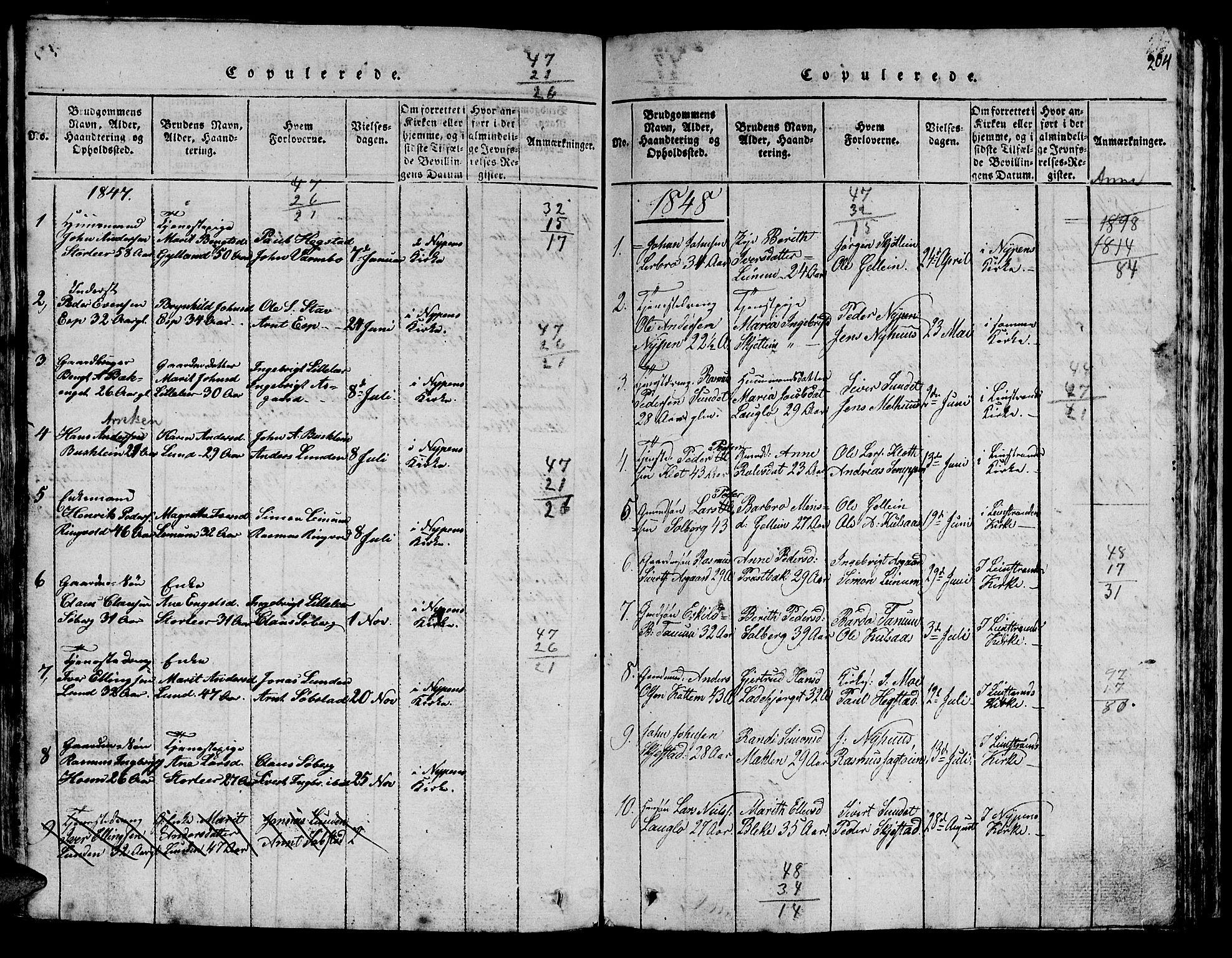 SAT, Ministerialprotokoller, klokkerbøker og fødselsregistre - Sør-Trøndelag, 613/L0393: Klokkerbok nr. 613C01, 1816-1886, s. 204