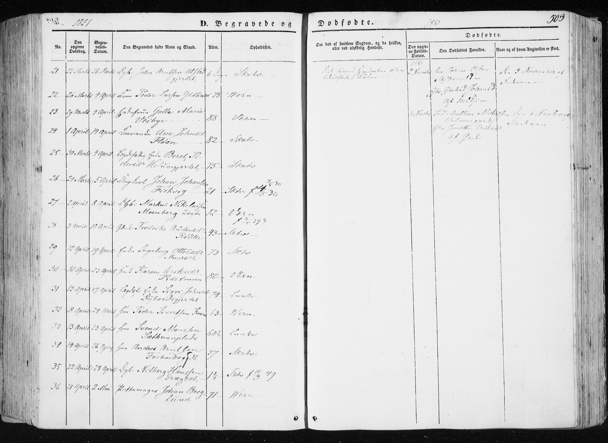 SAT, Ministerialprotokoller, klokkerbøker og fødselsregistre - Nord-Trøndelag, 709/L0074: Ministerialbok nr. 709A14, 1845-1858, s. 503