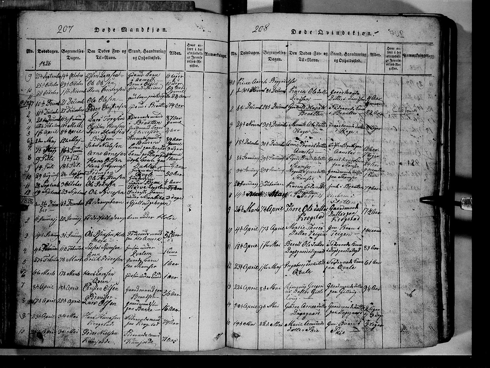 SAH, Lom prestekontor, L/L0003: Klokkerbok nr. 3, 1815-1844, s. 207-208