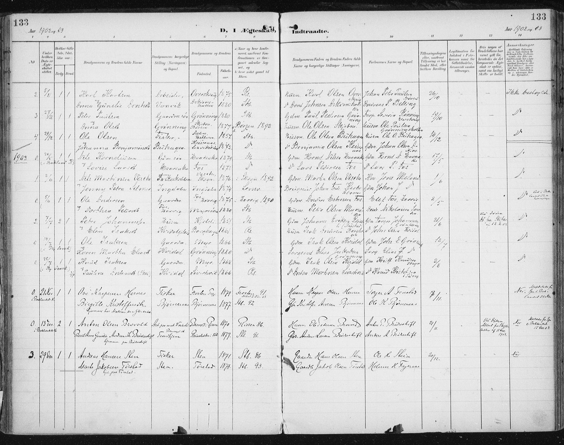 SAT, Ministerialprotokoller, klokkerbøker og fødselsregistre - Sør-Trøndelag, 646/L0616: Ministerialbok nr. 646A14, 1900-1918, s. 133