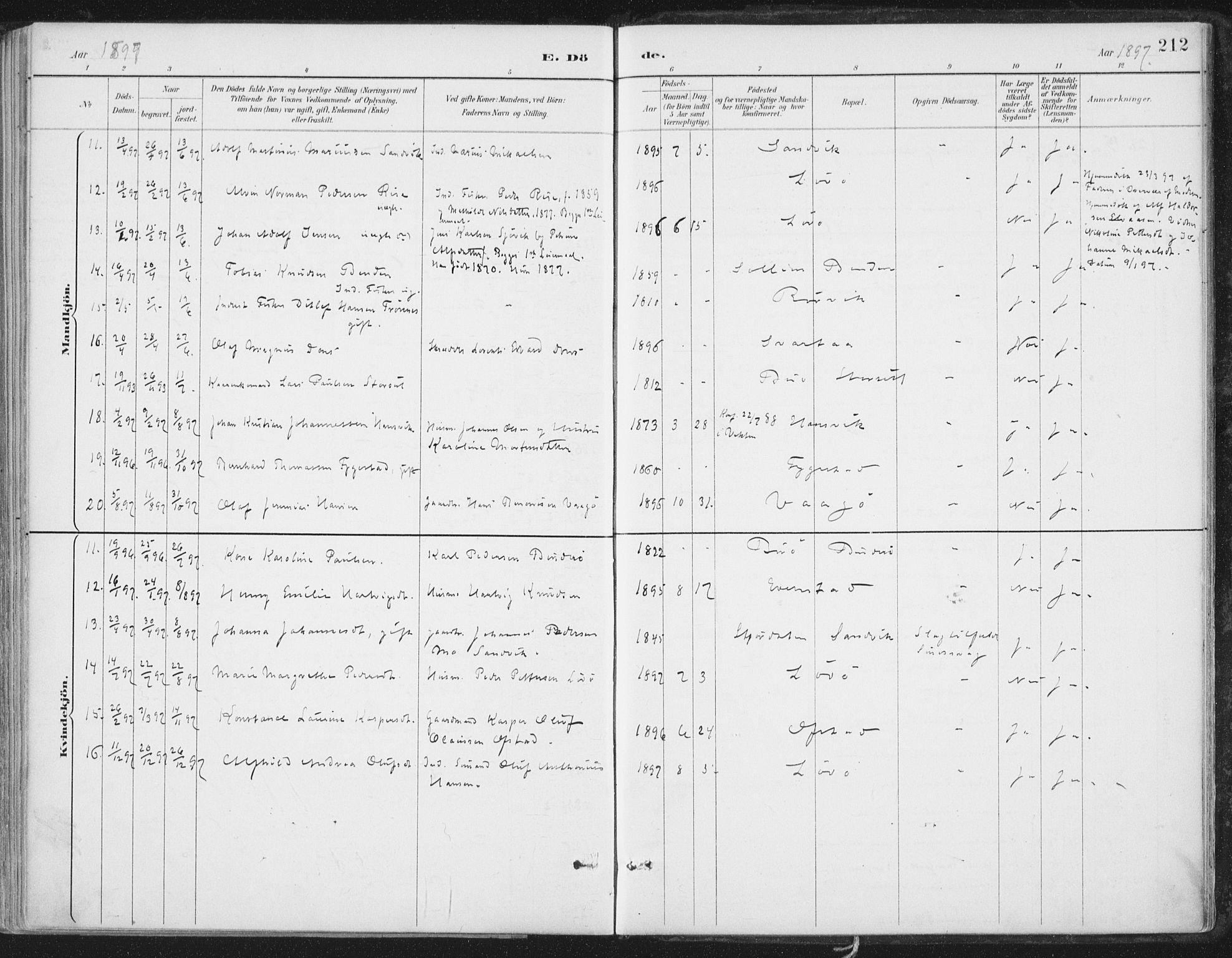 SAT, Ministerialprotokoller, klokkerbøker og fødselsregistre - Nord-Trøndelag, 786/L0687: Ministerialbok nr. 786A03, 1888-1898, s. 212