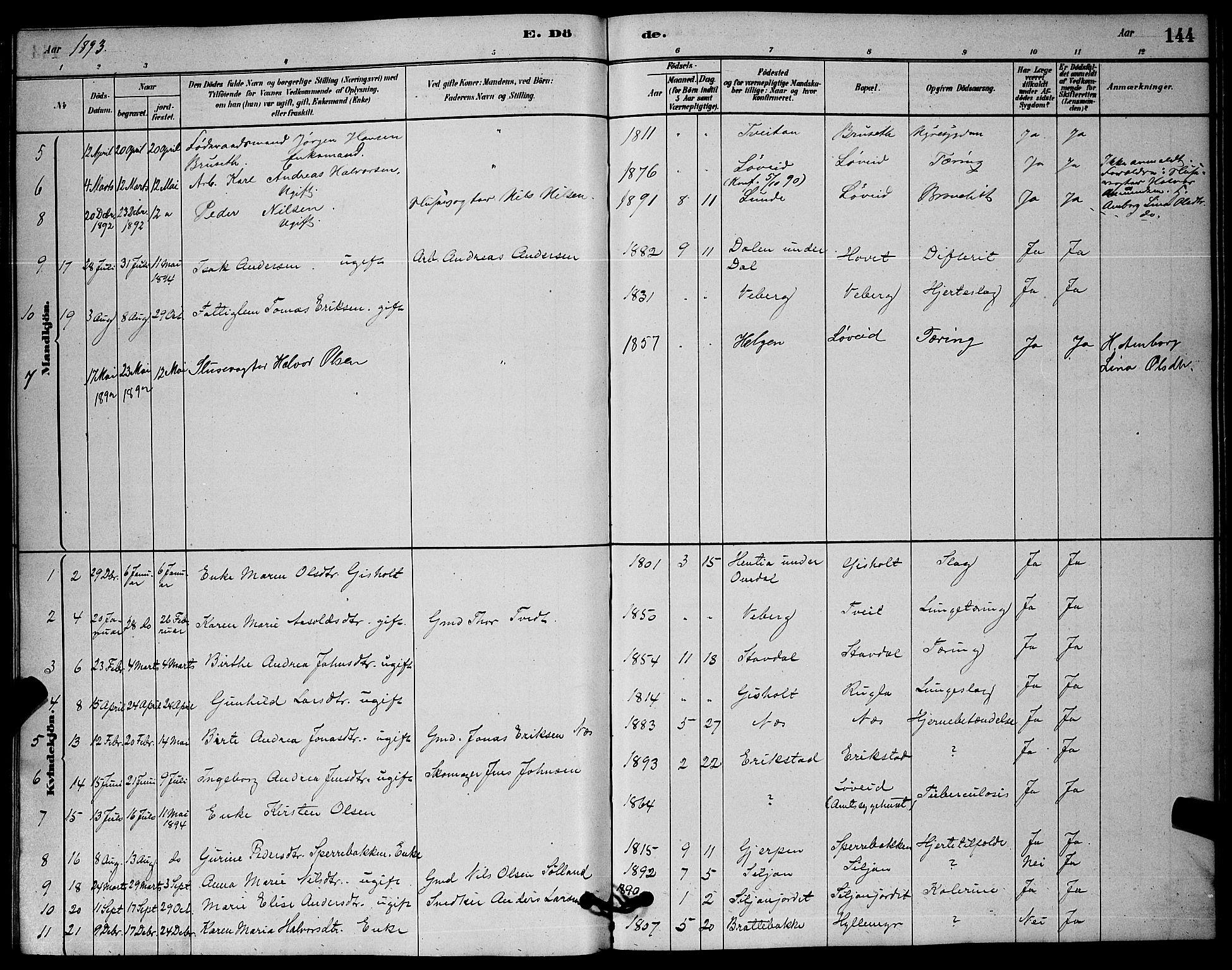 SAKO, Solum kirkebøker, G/Gb/L0003: Klokkerbok nr. II 3, 1880-1898, s. 144