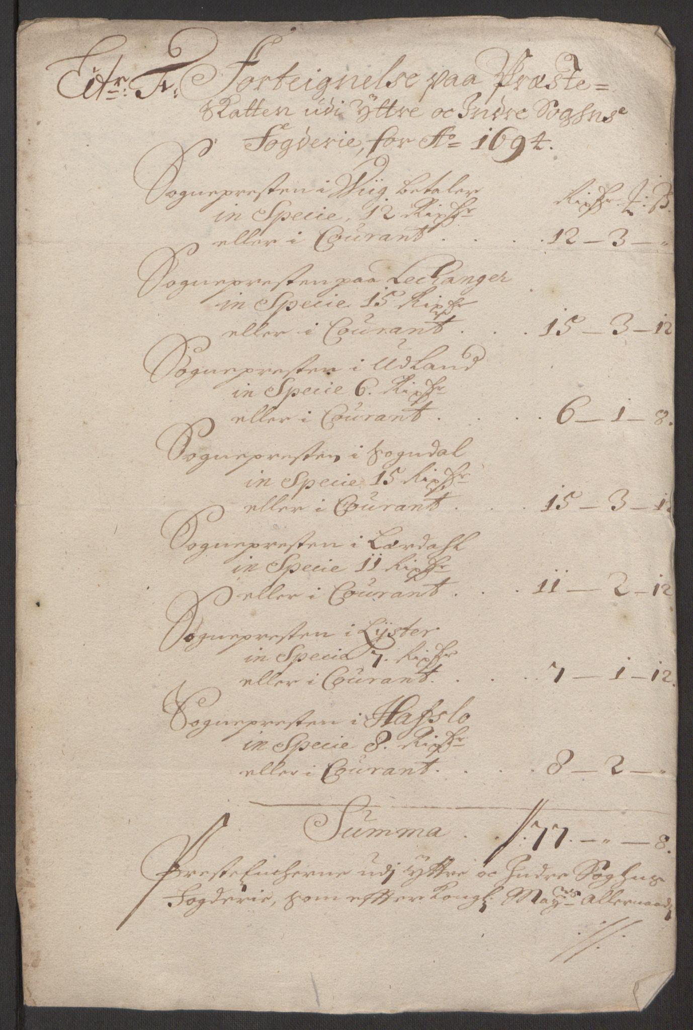 RA, Rentekammeret inntil 1814, Reviderte regnskaper, Fogderegnskap, R52/L3307: Fogderegnskap Sogn, 1693-1694, s. 431