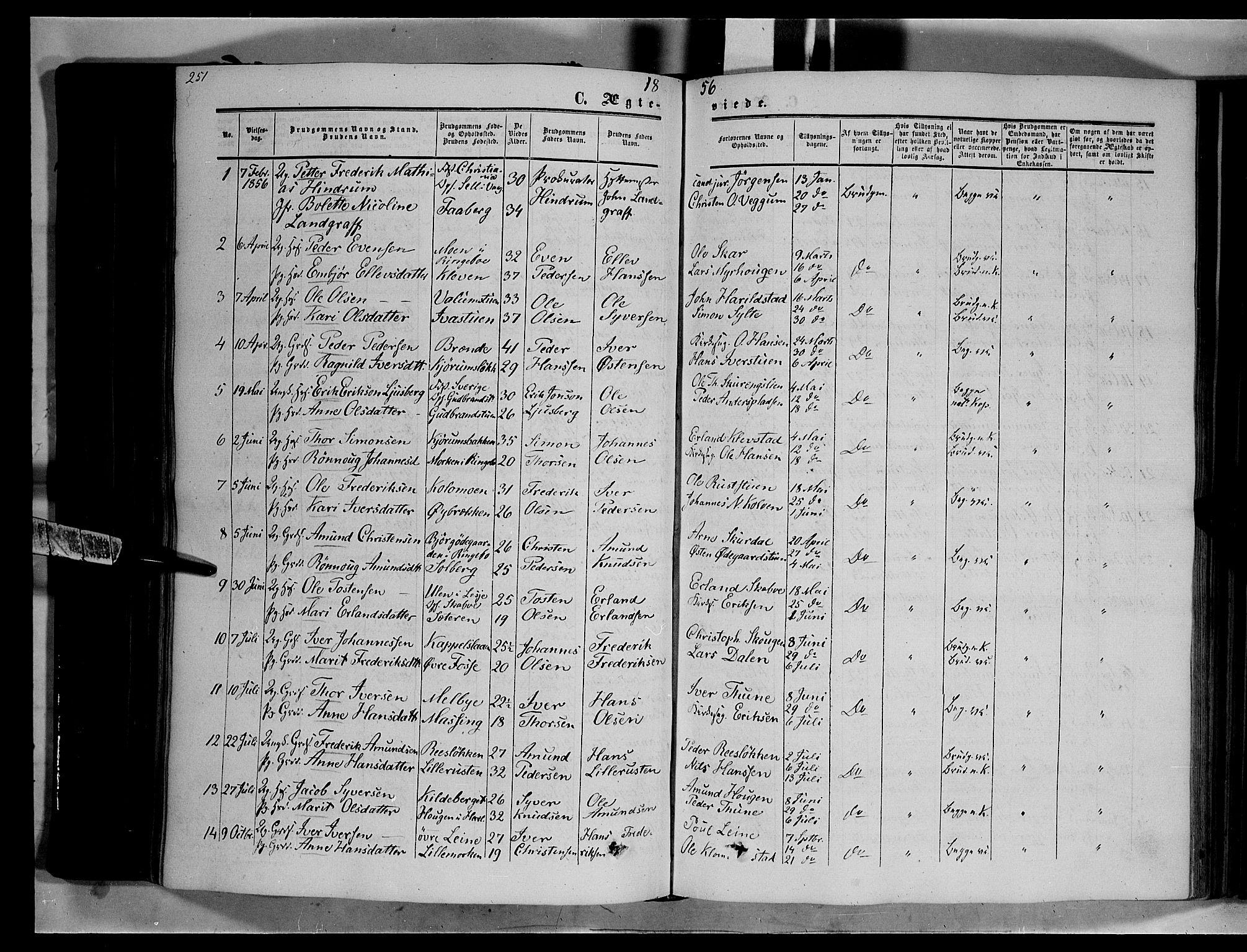 SAH, Nord-Fron prestekontor, Ministerialbok nr. 1, 1851-1864, s. 251