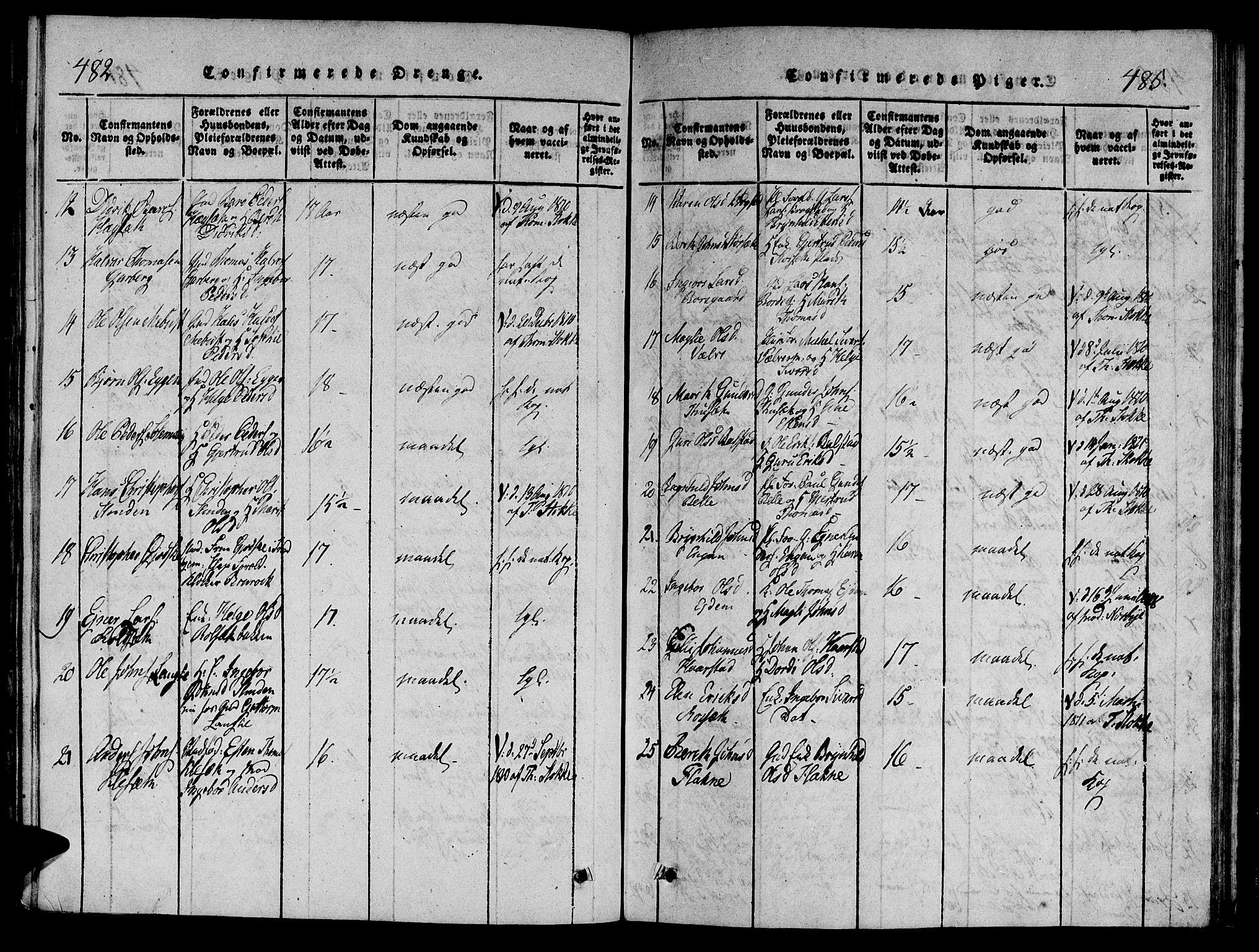 SAT, Ministerialprotokoller, klokkerbøker og fødselsregistre - Sør-Trøndelag, 695/L1141: Ministerialbok nr. 695A04 /1, 1816-1824, s. 482-485