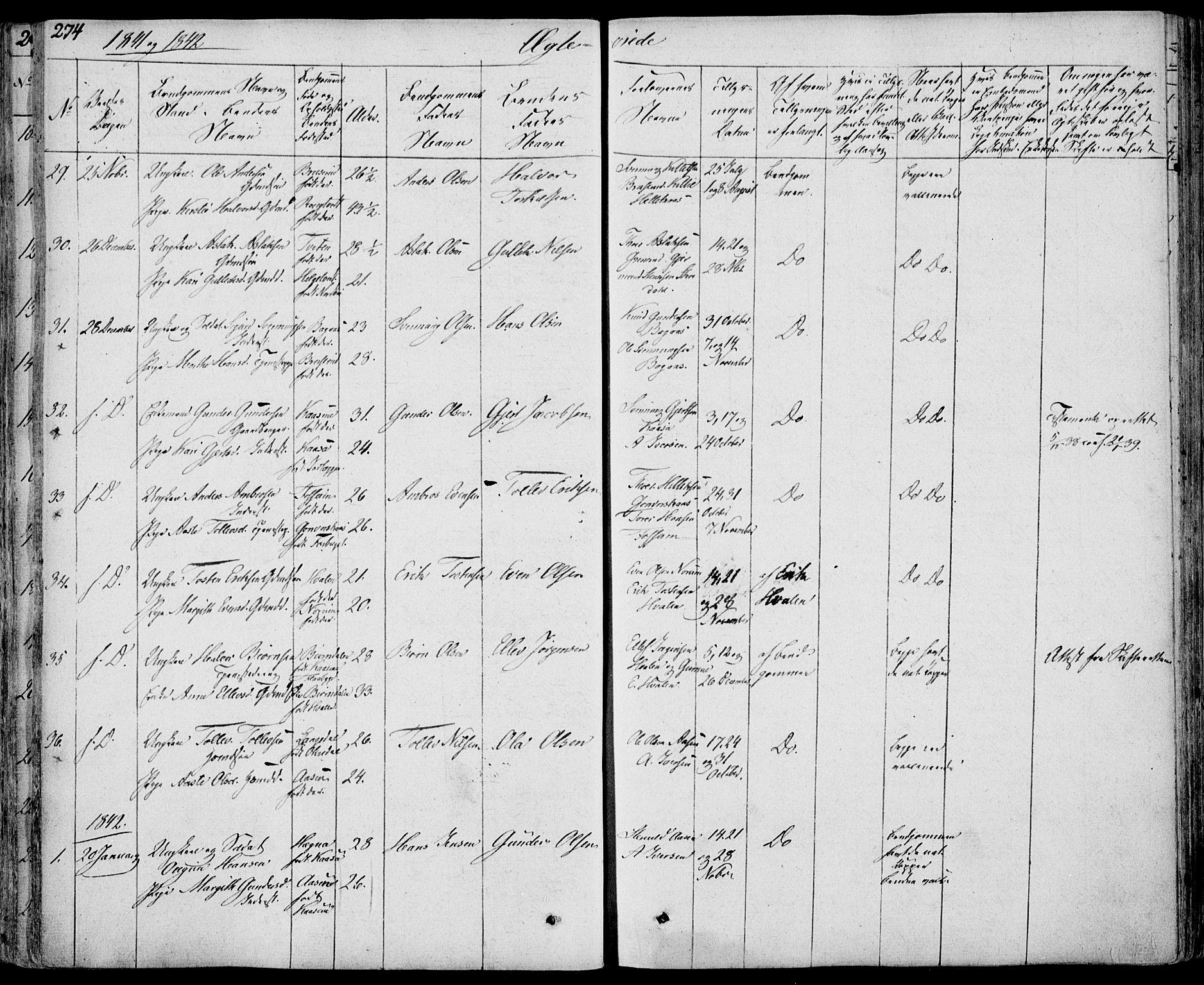 SAKO, Bø kirkebøker, F/Fa/L0007: Ministerialbok nr. 7, 1831-1848, s. 274