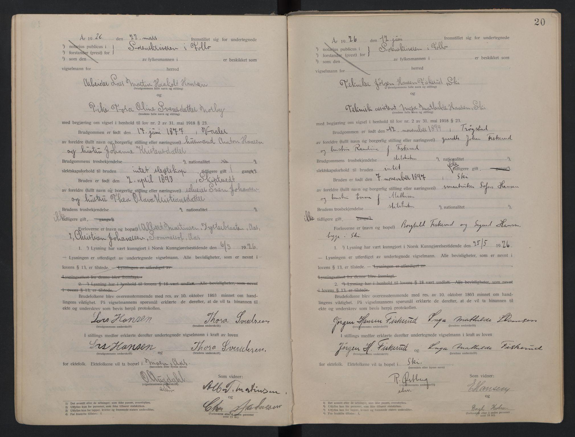 SAO, Follo sorenskriveri, L/La/Lab/L0001: Vigselsbok, 1920-1942, s. 20