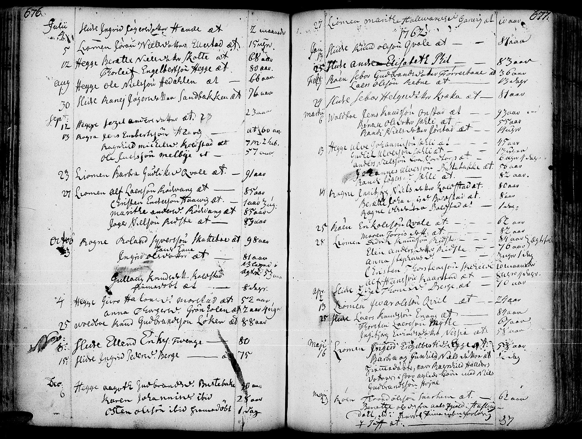 SAH, Slidre prestekontor, Ministerialbok nr. 1, 1724-1814, s. 676-677