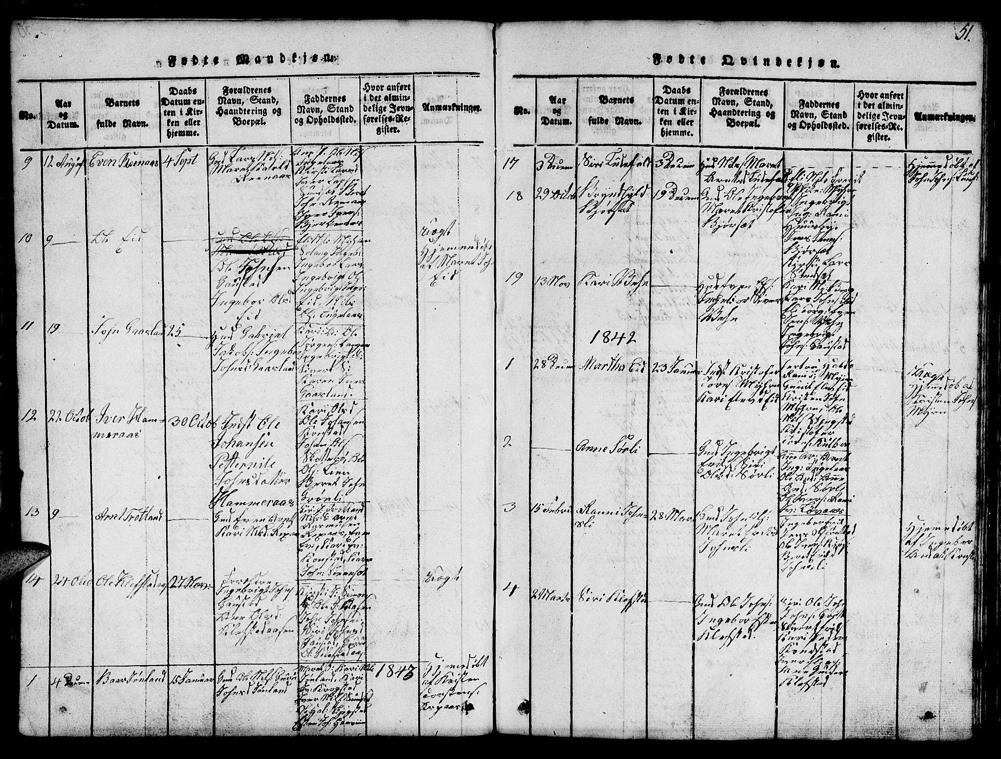 SAT, Ministerialprotokoller, klokkerbøker og fødselsregistre - Sør-Trøndelag, 694/L1130: Klokkerbok nr. 694C02, 1816-1857, s. 51