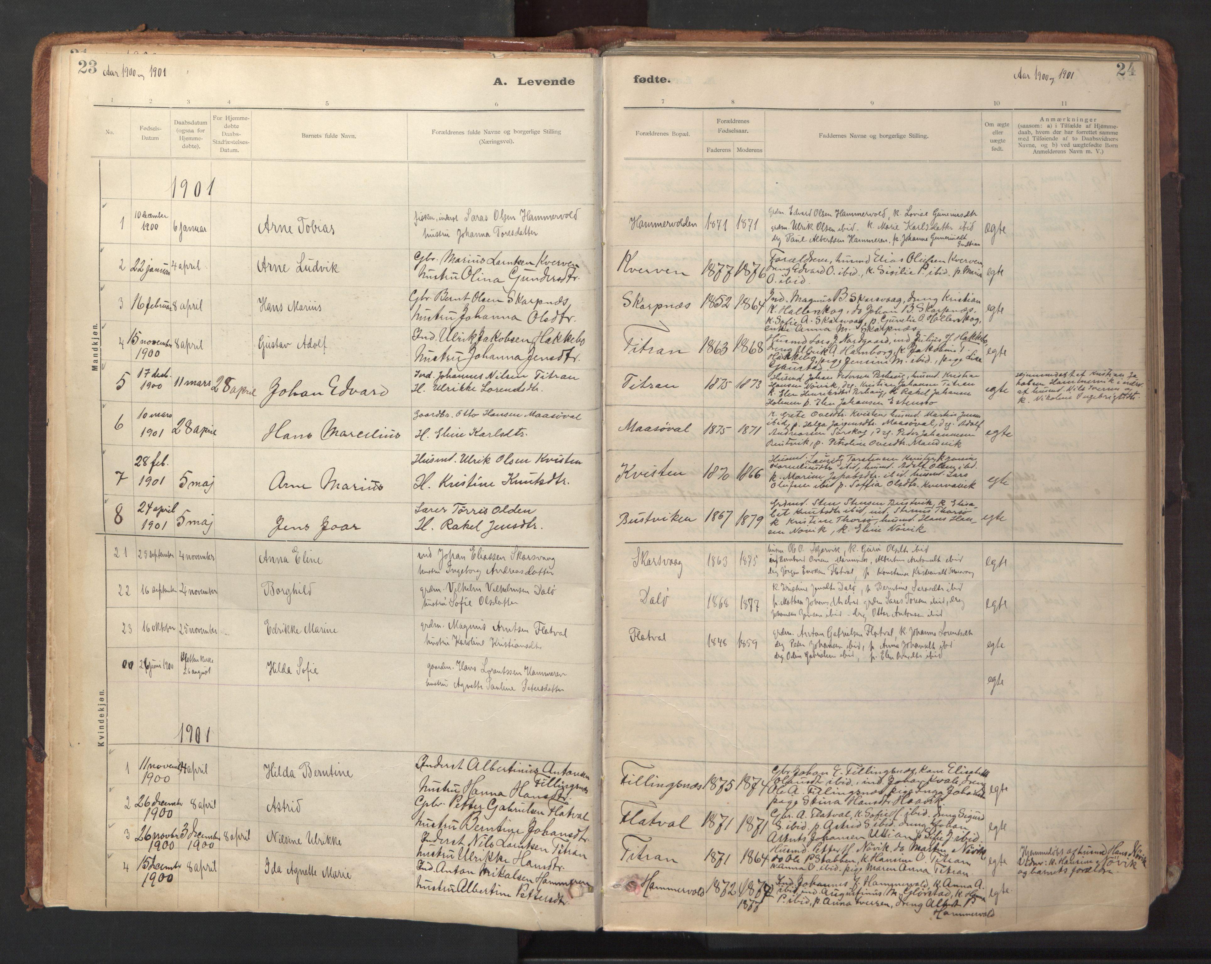SAT, Ministerialprotokoller, klokkerbøker og fødselsregistre - Sør-Trøndelag, 641/L0596: Ministerialbok nr. 641A02, 1898-1915, s. 23-24